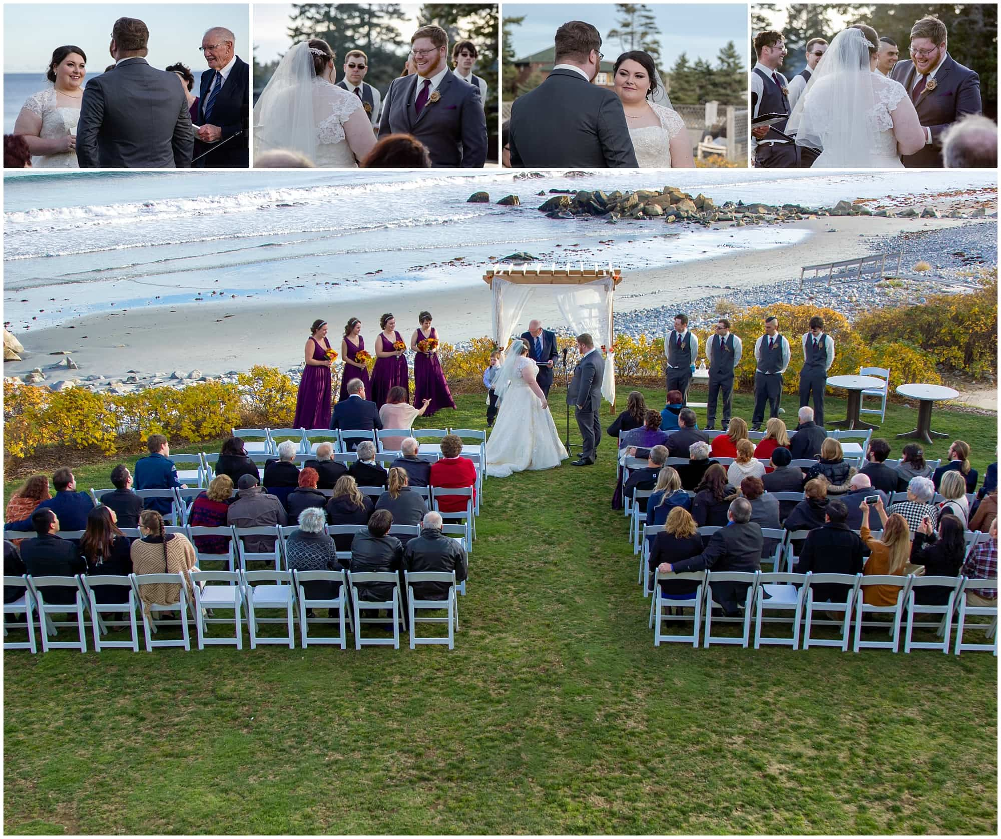 The bride and groom smile at each other during their wedding vows at White Point Beach Resort in Nova Scotia.