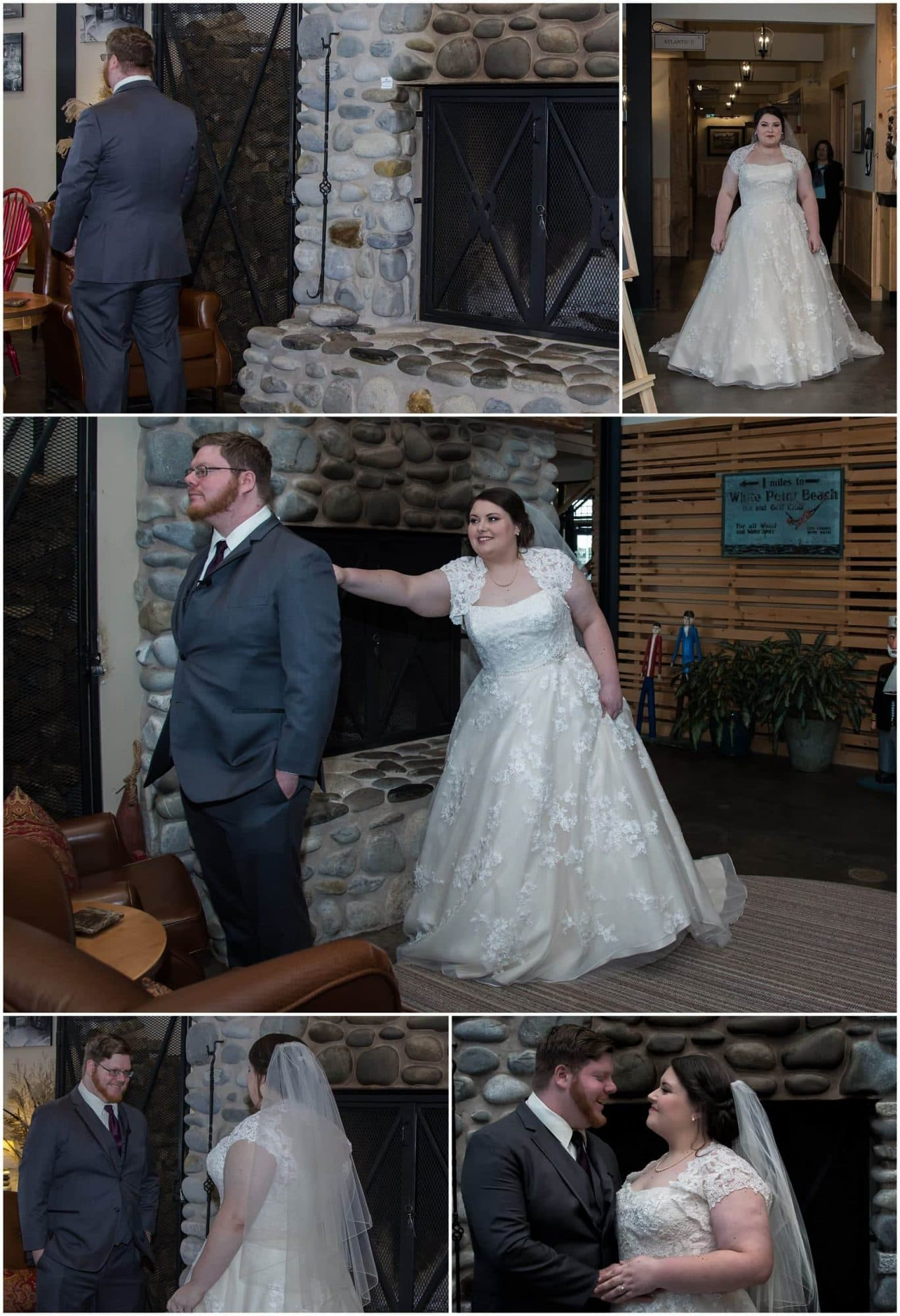 The bride and groom have their first look before their wedding ceremony at White Point Beach Resort in Nova Scotia.