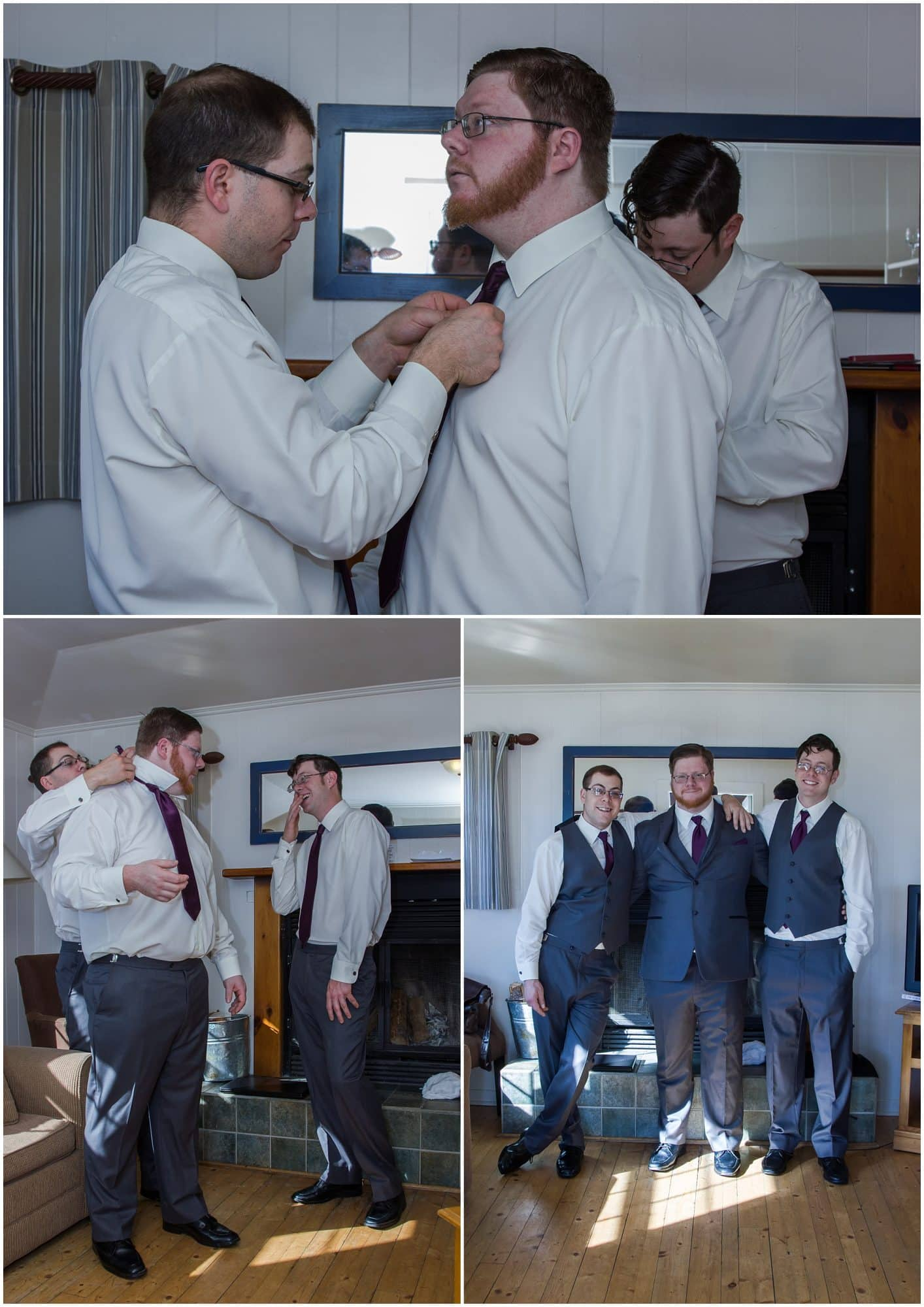 The groom with groomsmen getting ready for his wedding day at White Point Beach Resort in Nova Scotia.