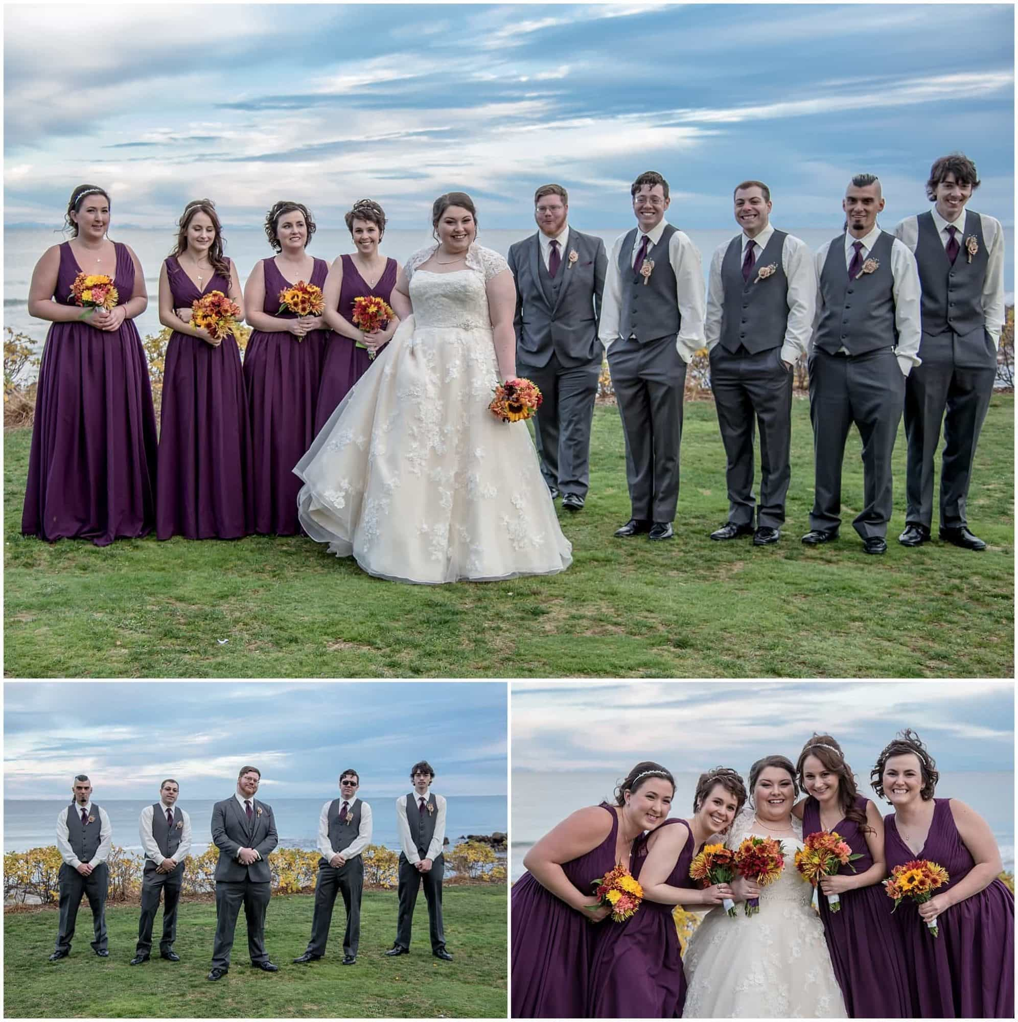 The wedding party photos with the bride and groom at the White Point Beach Resort in Nova Scotia.