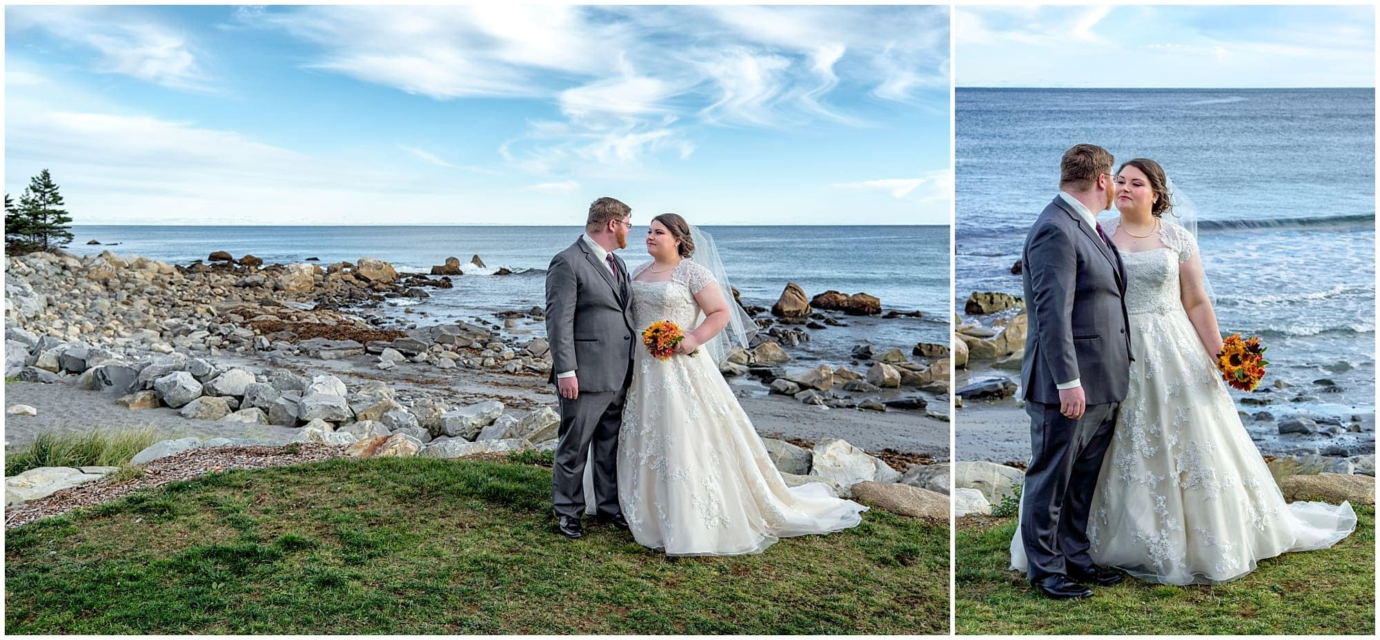 The bride and groom pose for wedding photos on the ocean at White Point.