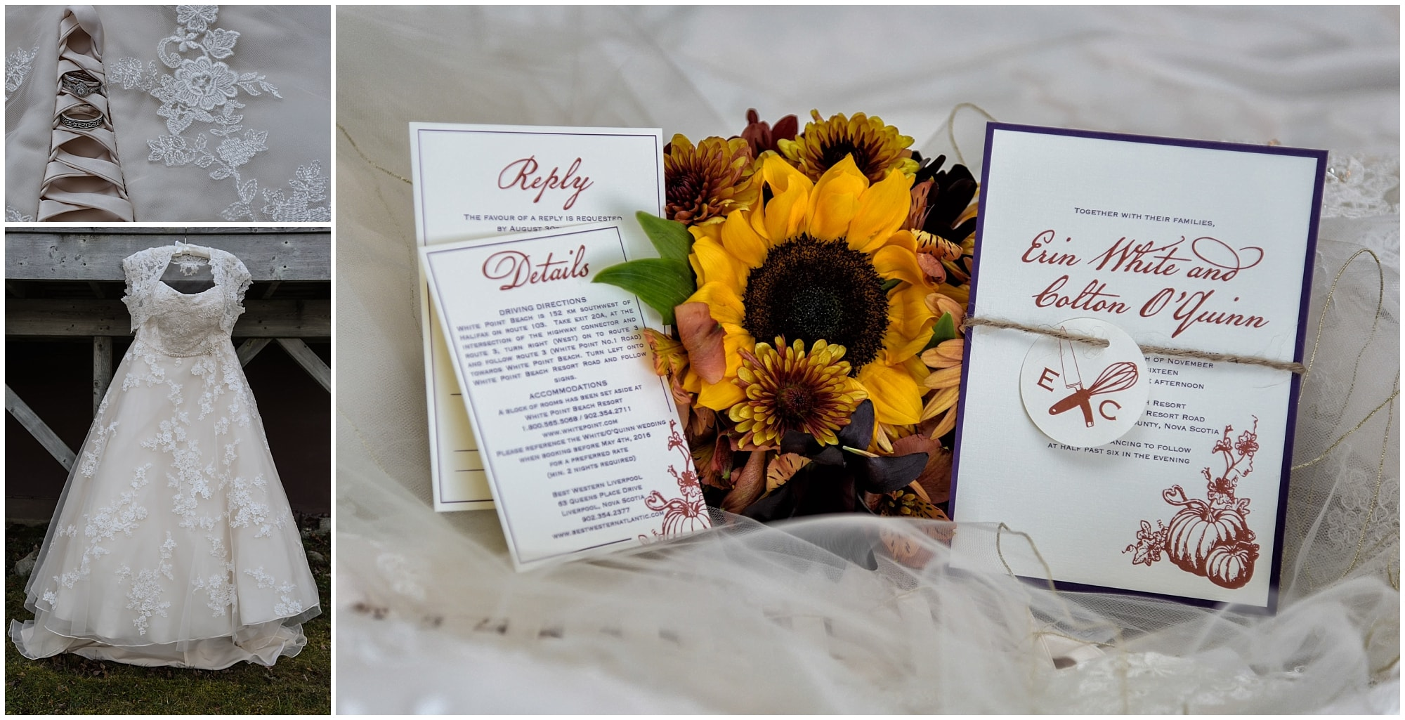 The bride's wedding gown with her wedding invitation and sunflower bridal bouquet.