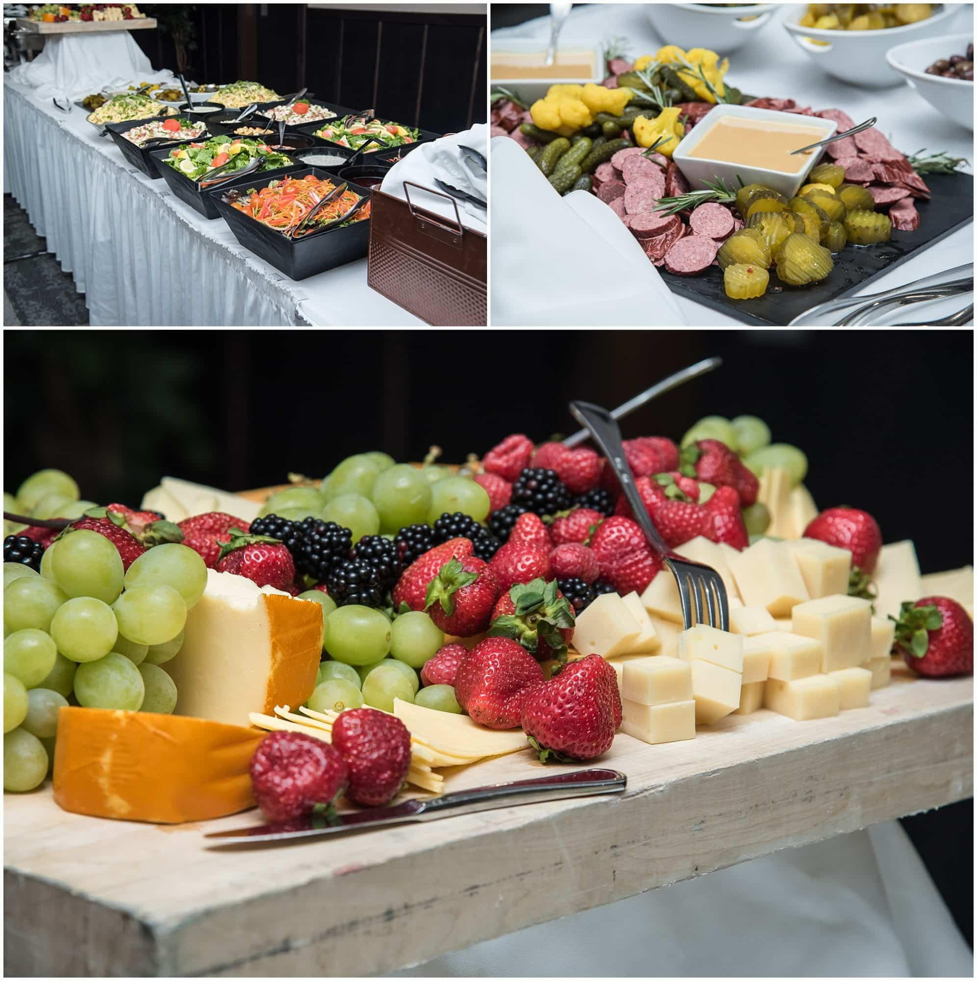 Salads, fruit and meats set out for wedding guests during a Best Western Chocolate Lake catered wedding.