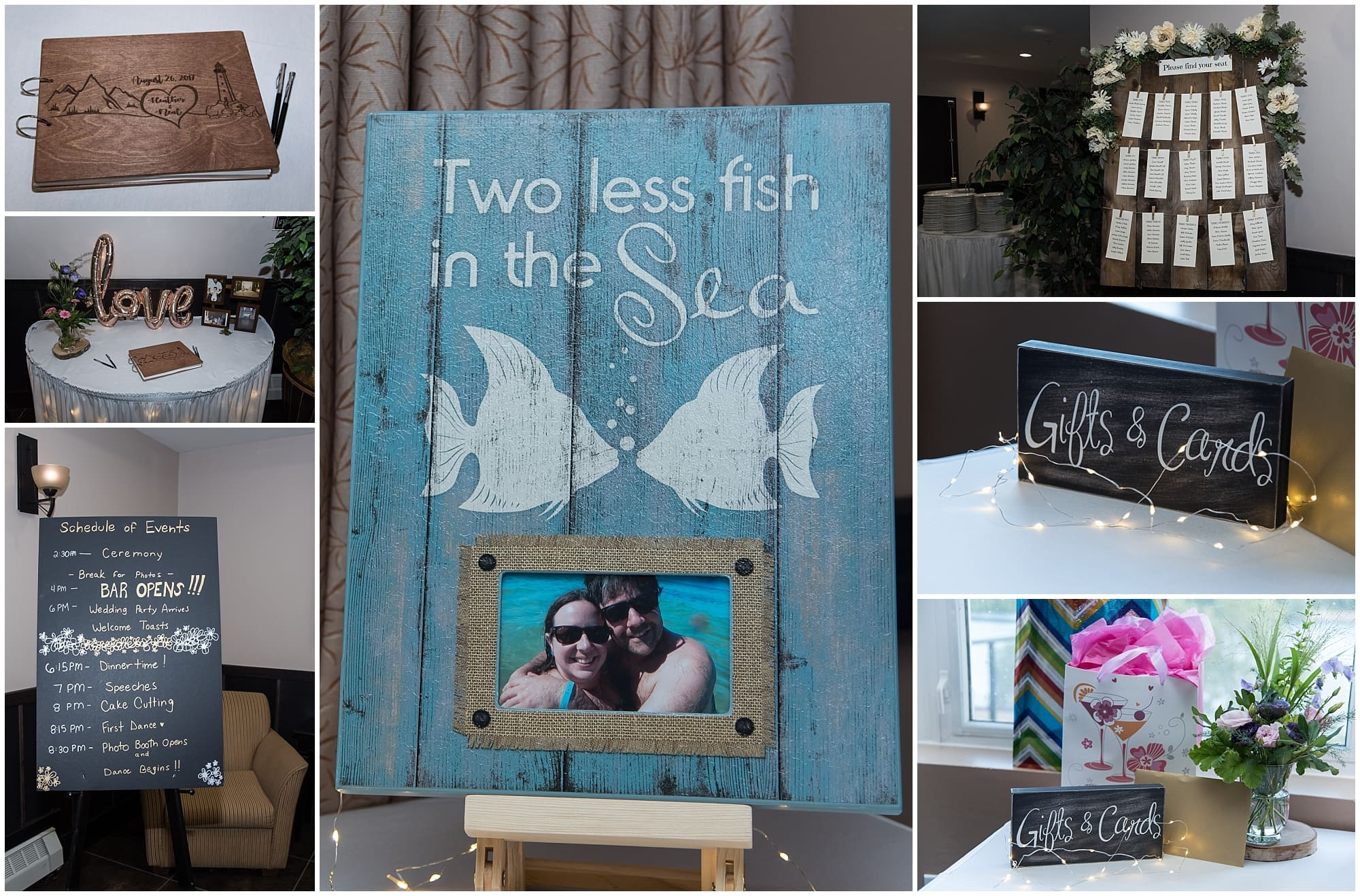 Gift table, guest books, wooden wedding signs, wedding table seating chats and other wedding reception decorations for a wedding at the Best Western Chocolate Lake Hotel in Halifax, NS.