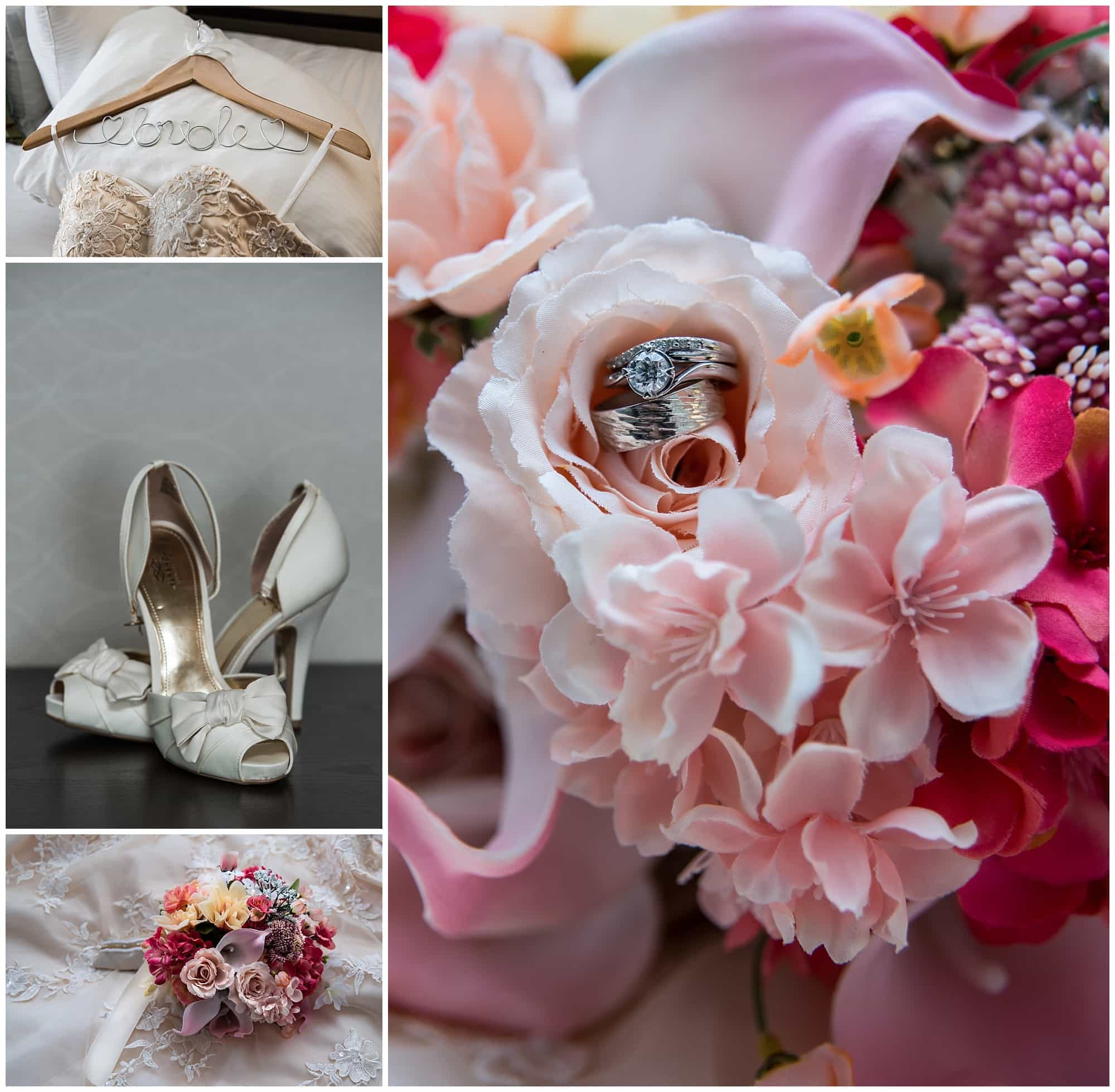 The bride's wedding dress, bridal bouquet, wedding shoes and rings during bridal prep at the Atlantica Hotel in Halifax, NS.