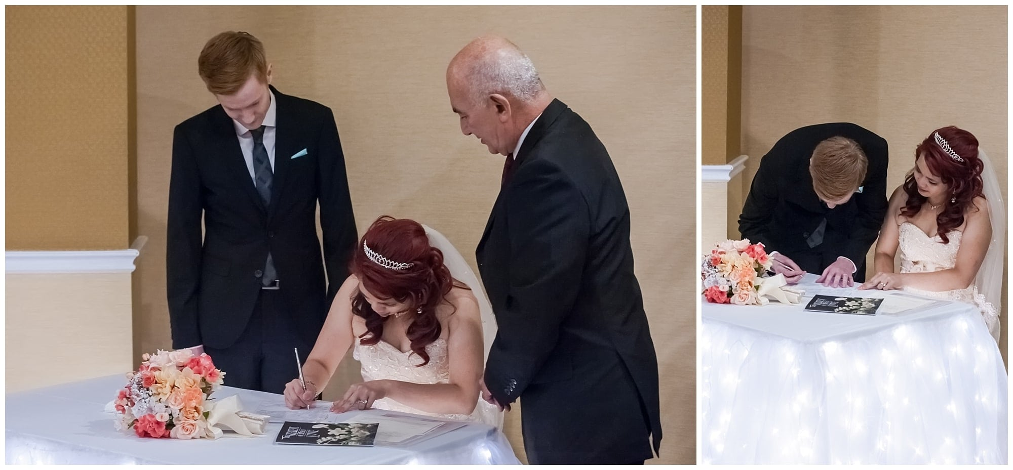 The bride and groom sign their marriage certificate during their wedding at the Atlantica Hotel in Halifax.