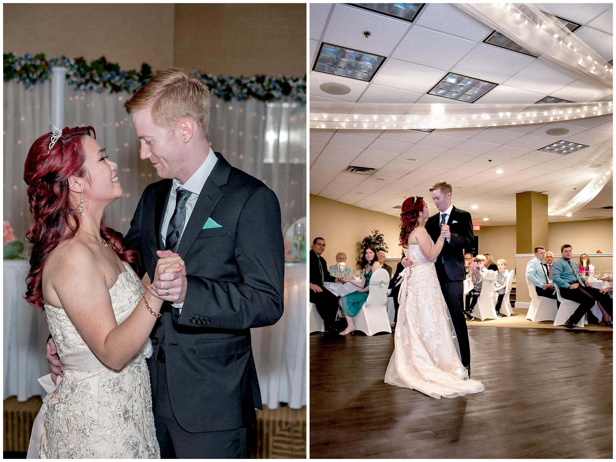 The bride and groom during their first wedding dance at the Atlantica Hotel in Halifax, NS.