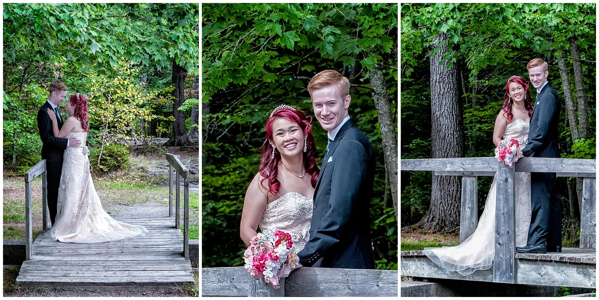 The bride and groom have their wedding photos done at Point Pleasant Park in Halifax, NS.