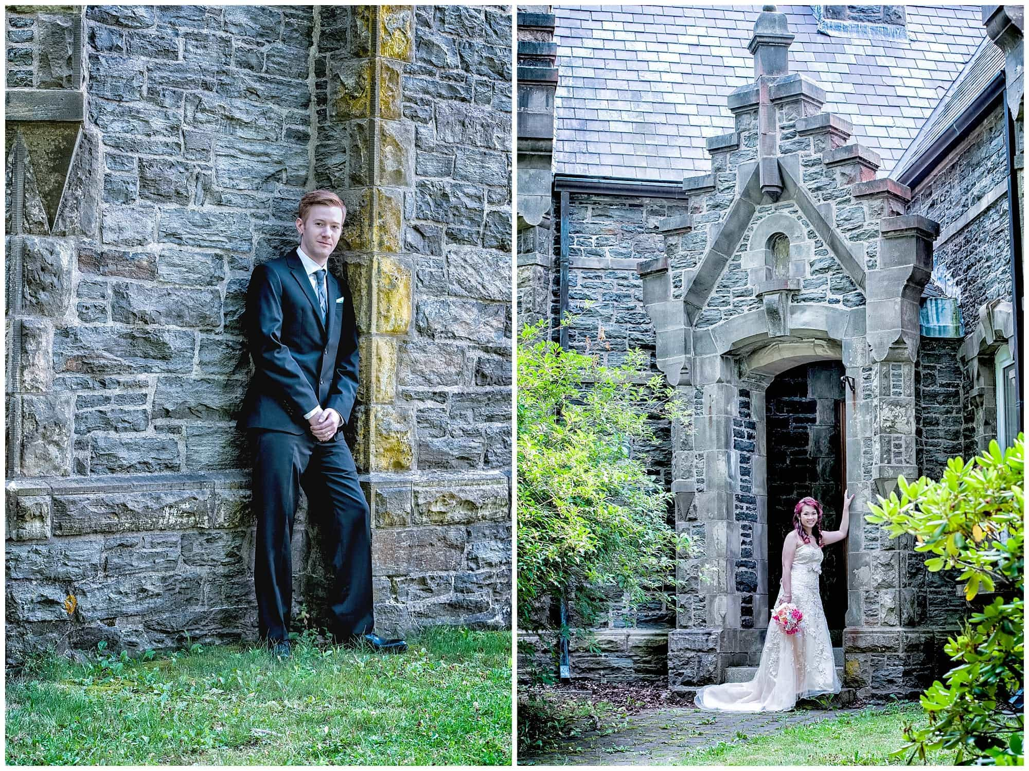 The bride and groom had their wedding photos done at the Gatehouse in Point Pleasant Park in Halifax, NS.