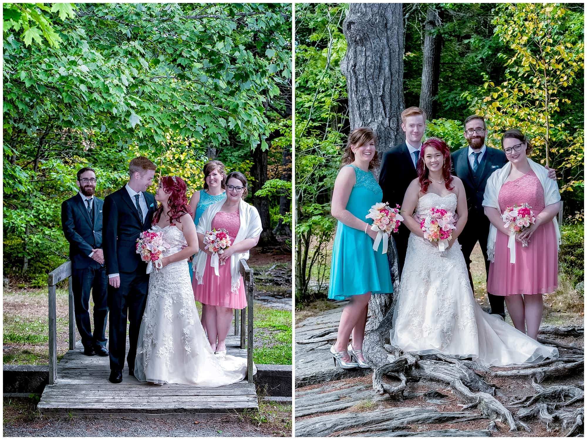 The wedding party photos with the bride and groom at Point Pleasant Park in Halifax, Nova Scotia.