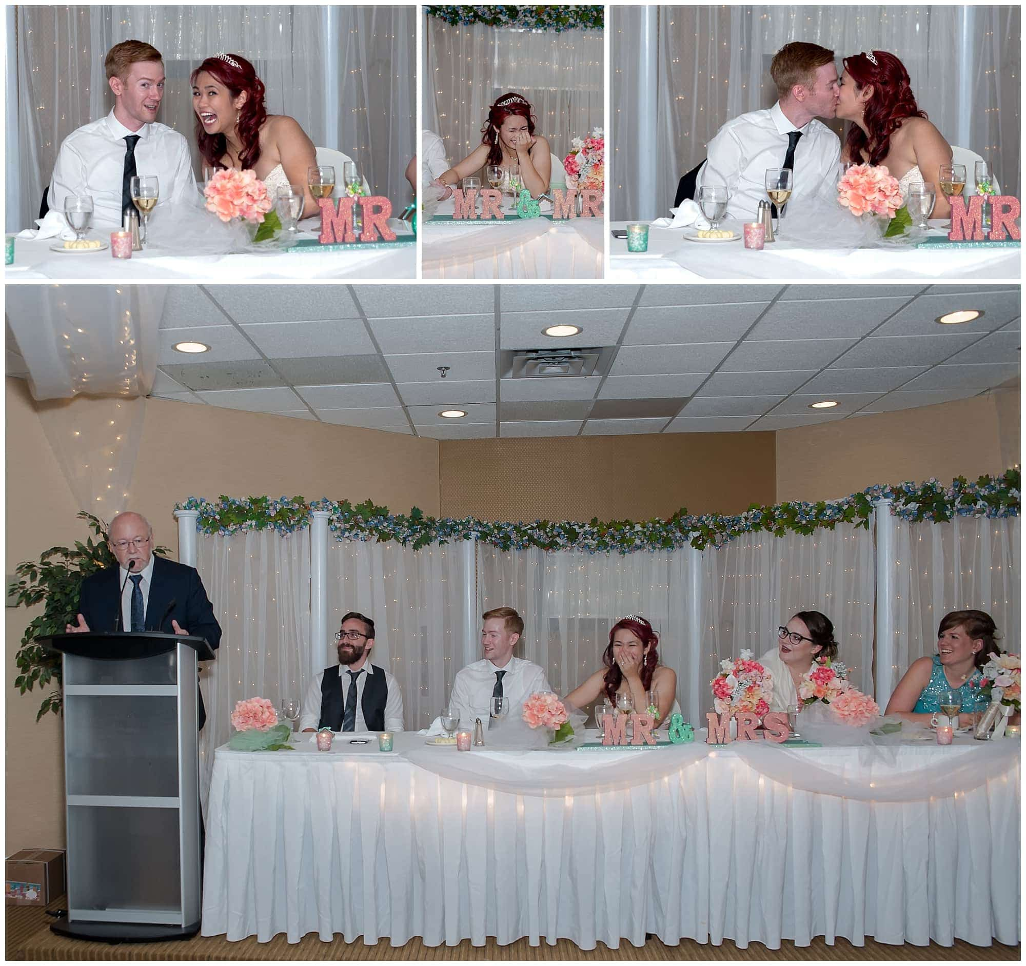 The wedding speech by the groom's father to the bride and groom during the wedding reception at the Atlantica Hotel in Halifax.