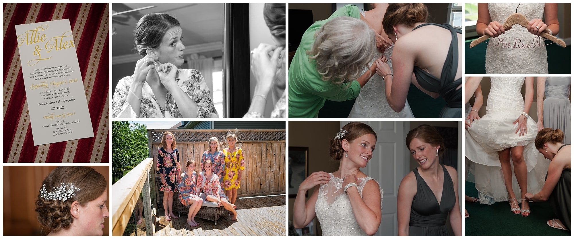 A bride prepares for her wedding during bridal prep, getting into her gown and putting her earrings in at her parent's home in Cole Harbour.