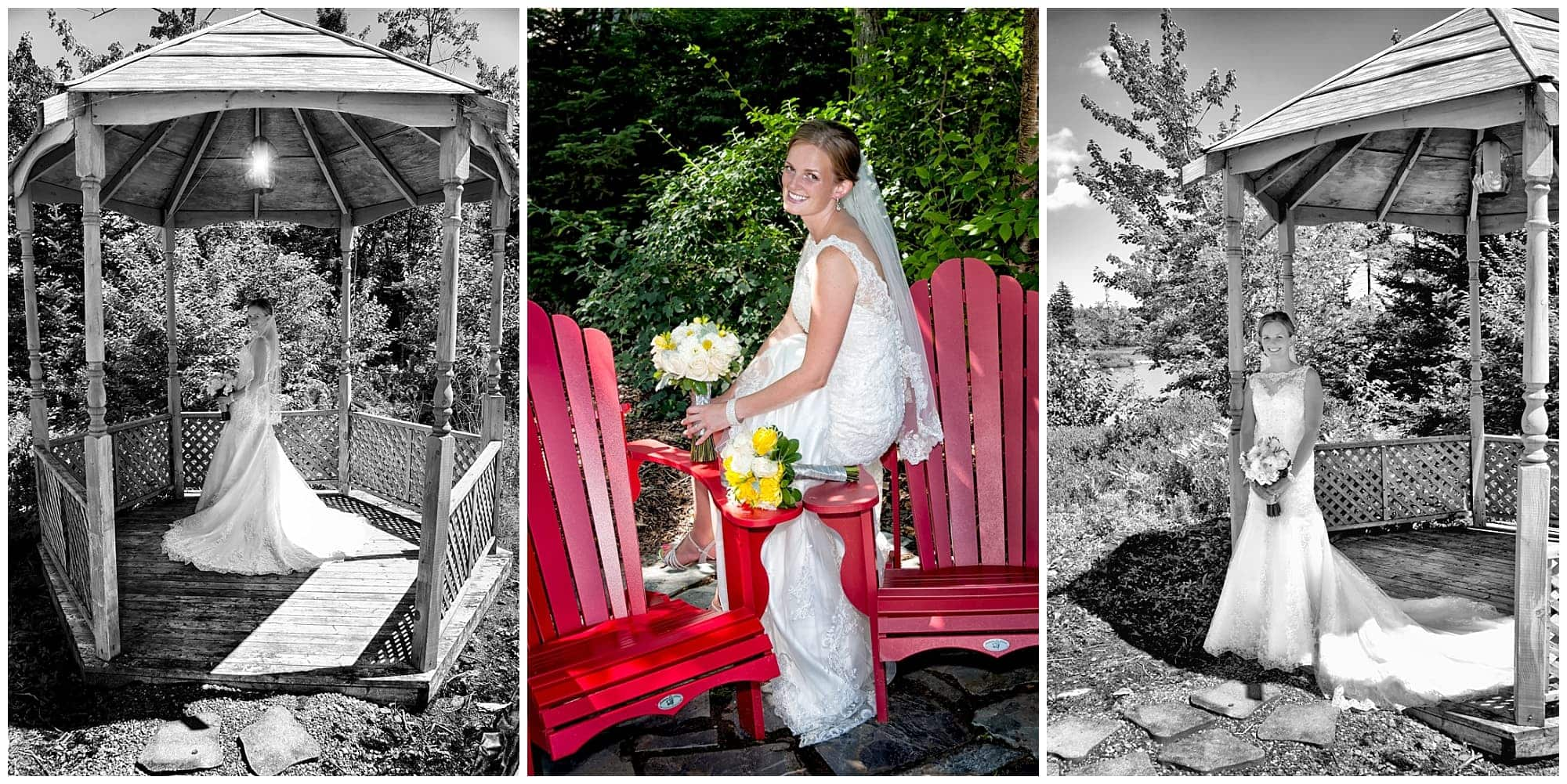 The bridal wedding photos of the bride among a gazebo and sitting on red chairs at her parent's home in Cole Harbour.