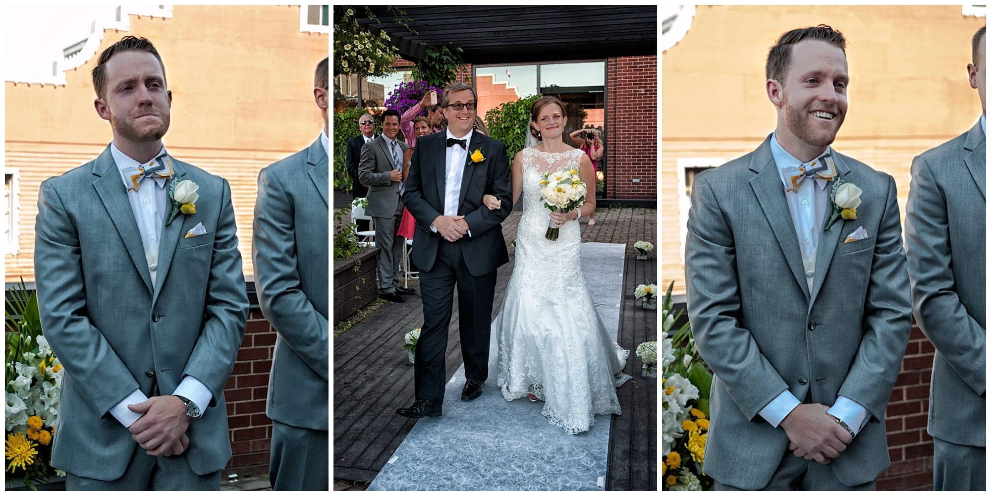The bride walks up the aisle with her father while the groom looks on during a wedding at Prince George Hotel in Halifax.