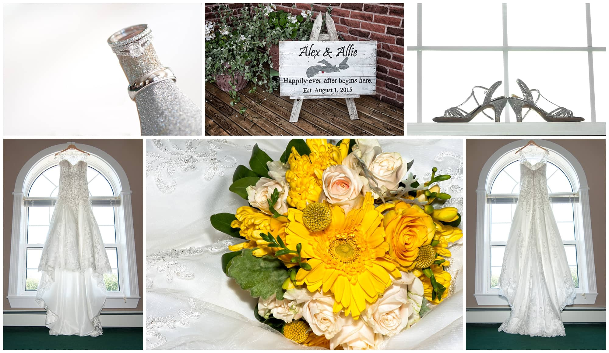 A collage of the bride's wedding dress, bridal bouquet, wedding shoes and wedding rings with their wedding sign displayed outside the house.