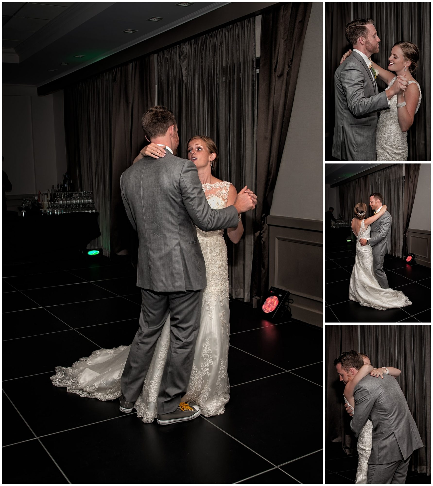 The bride and groom sing to each other during their first dance at their Prince George Hotel wedding.