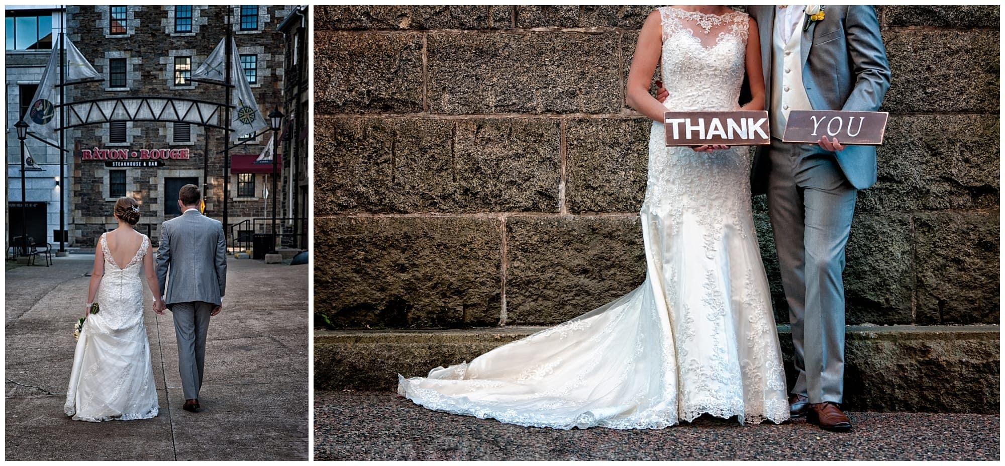 The bride and groom hold thank you wedding signs for their wedding photos and thank you cards in downtown Halifax, NS.