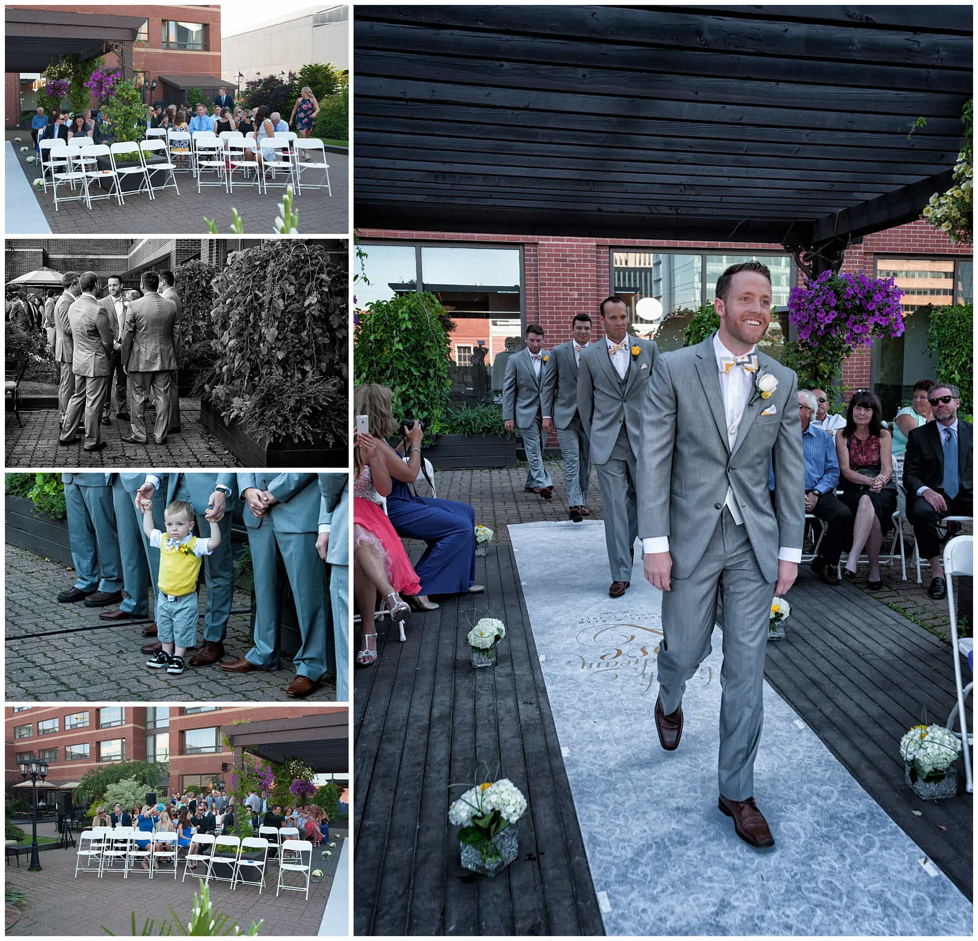 The groom walks up the aisle to take his place at the alter during a wedding ceremony at the Prince George Hotel in Halifax.