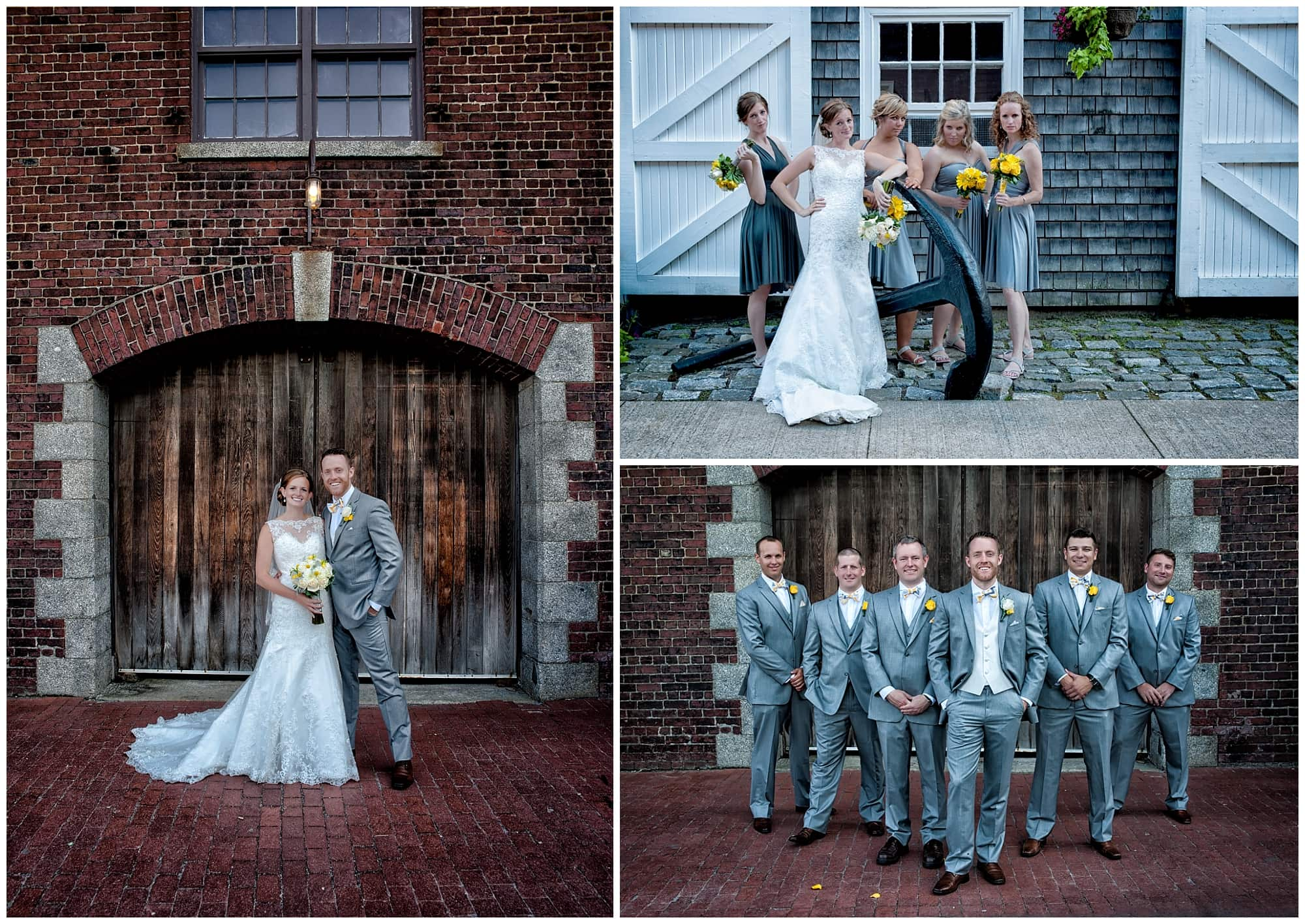 The bride and groom pose with their wedding party for wedding photos at the Historic Properties in Halifax, NS.