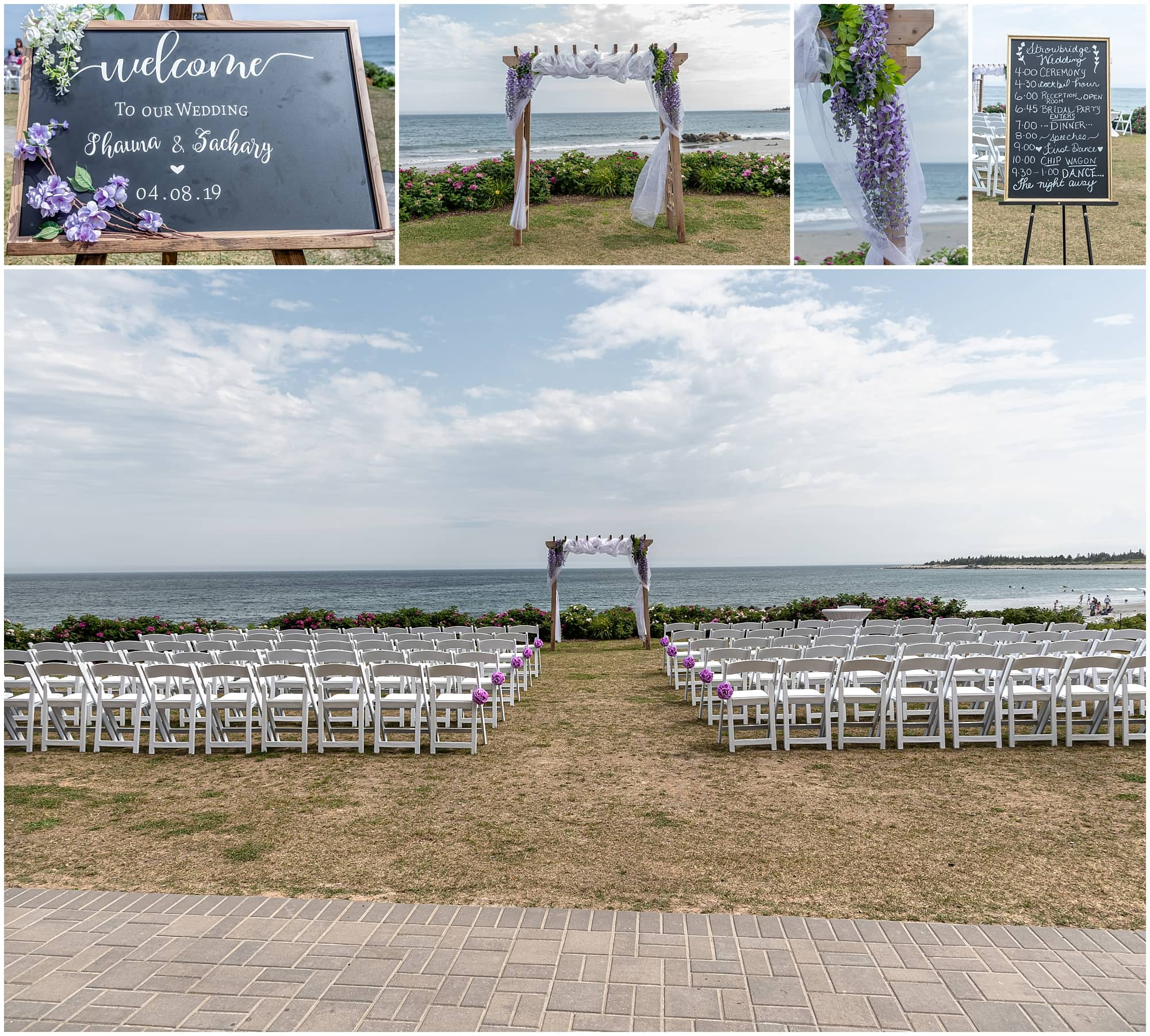 The wedding ceremony set up at White Point, NS.