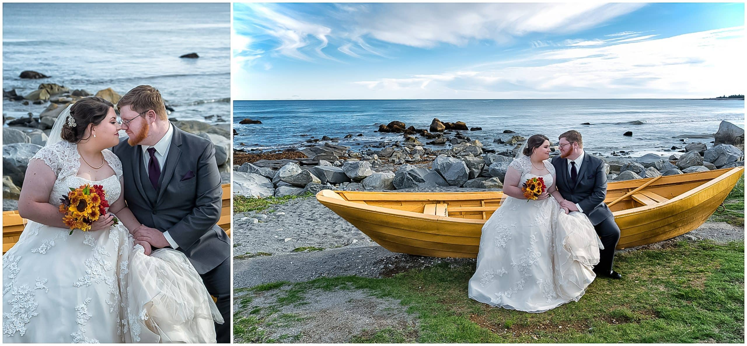 The bride and groom sit on a yellow boat posing for their wedding photos at White Point in NS.