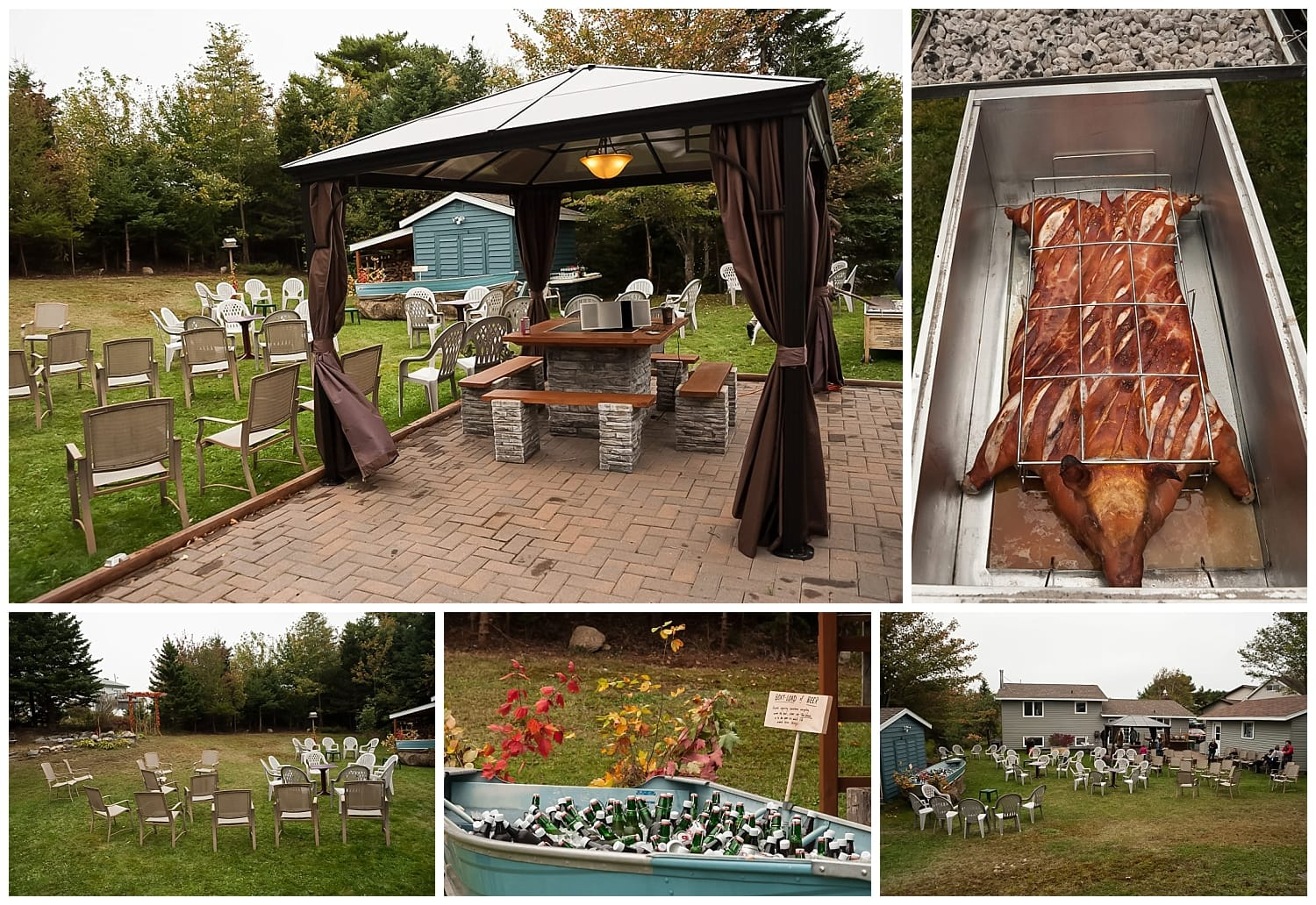 A backyard wedding set up for the autumn with a pig roast.