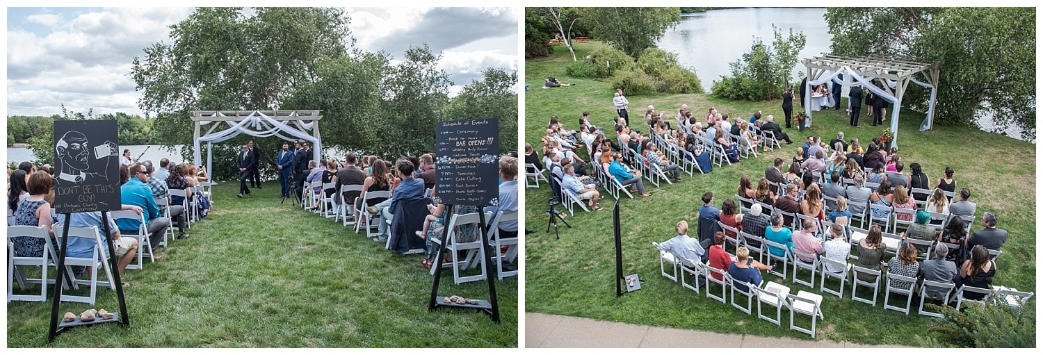 A Best Western Chocolate Lake wedding ceremony by the lake in Halifax, NS.