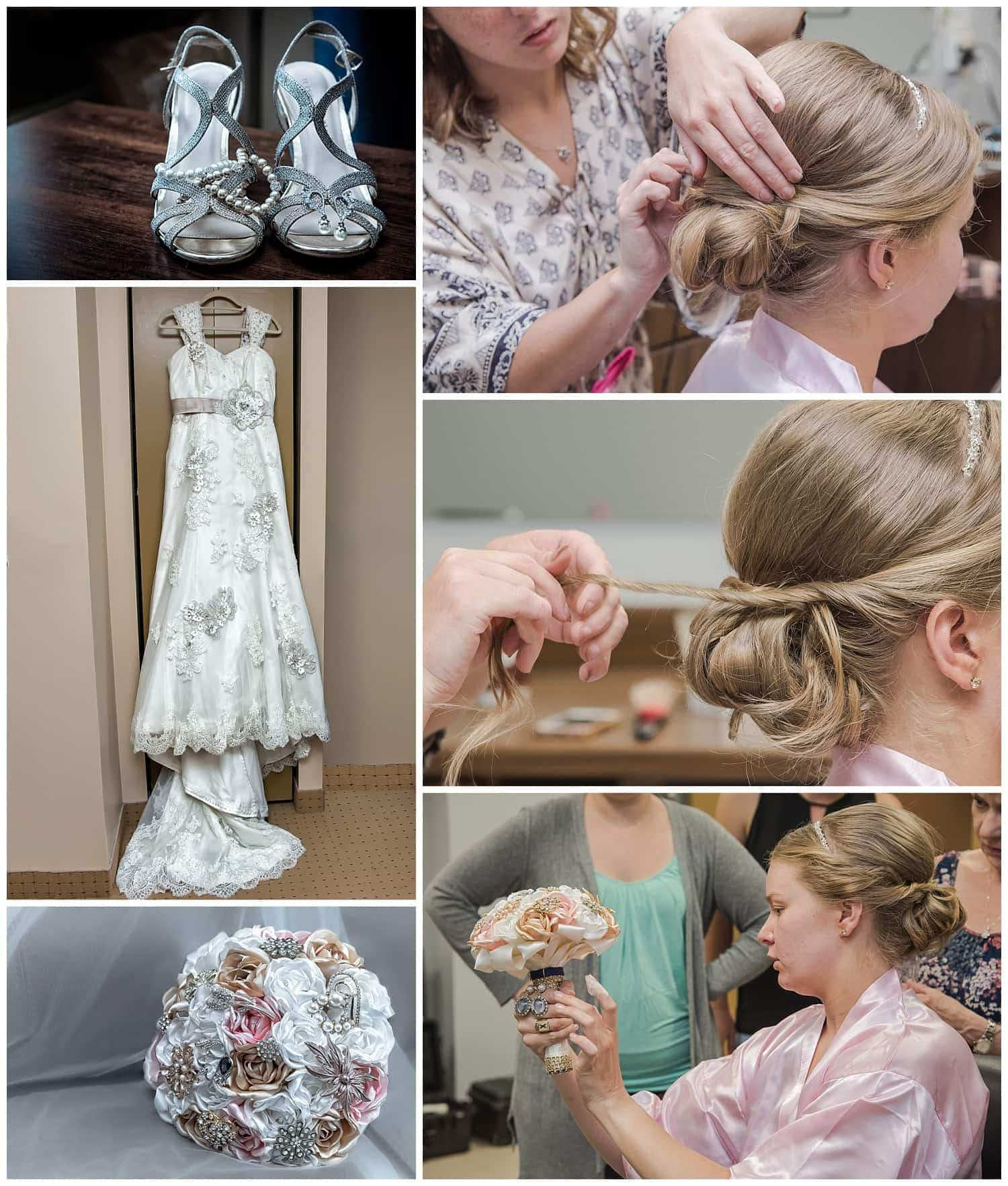 The bride having her hair done during bridal prep and gazing at her bridal brooch bouquet at Juno Tower in Halifax, NS.