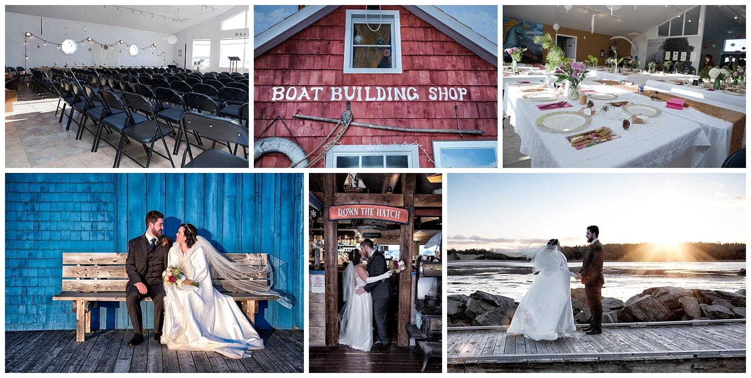 Fisherman's Cove weddings in Eastern Passage, Halifax, NS with the bride and groom.