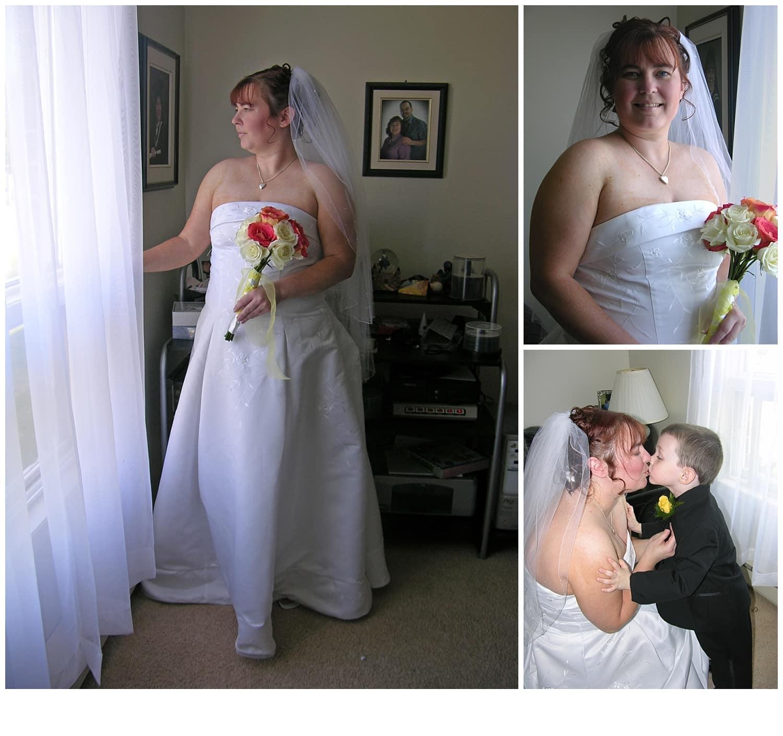 A nova scotia wedding photographer with the bride on her wedding day.