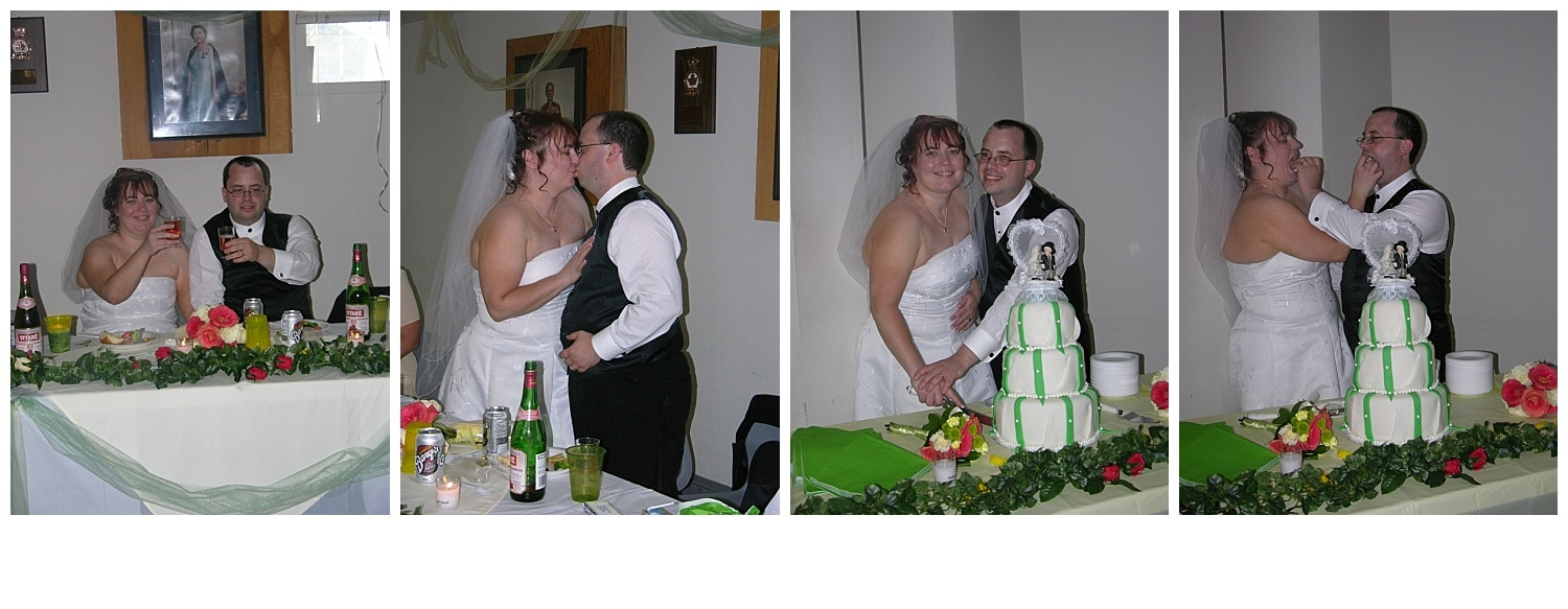 The bride and groom cutting the cake.