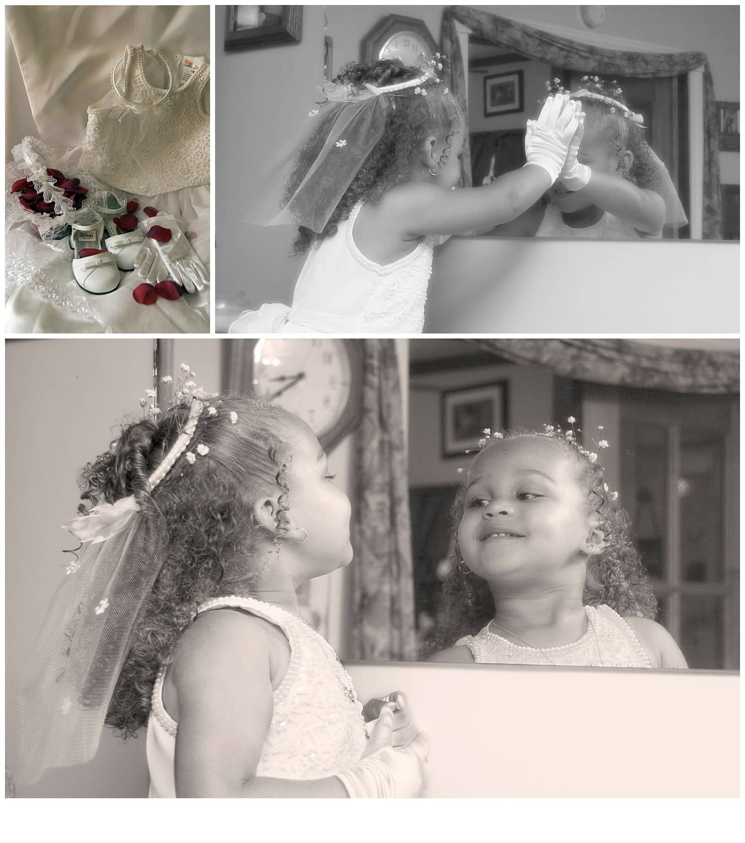 The flower girl smiles at herself in a mirror during bridal prep.