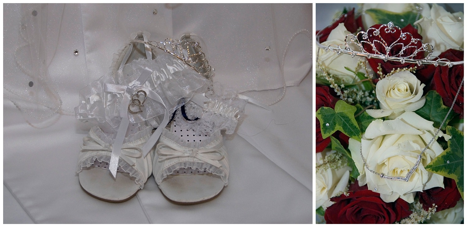 The wedding shoes with wedding rings and bridal bouquet.