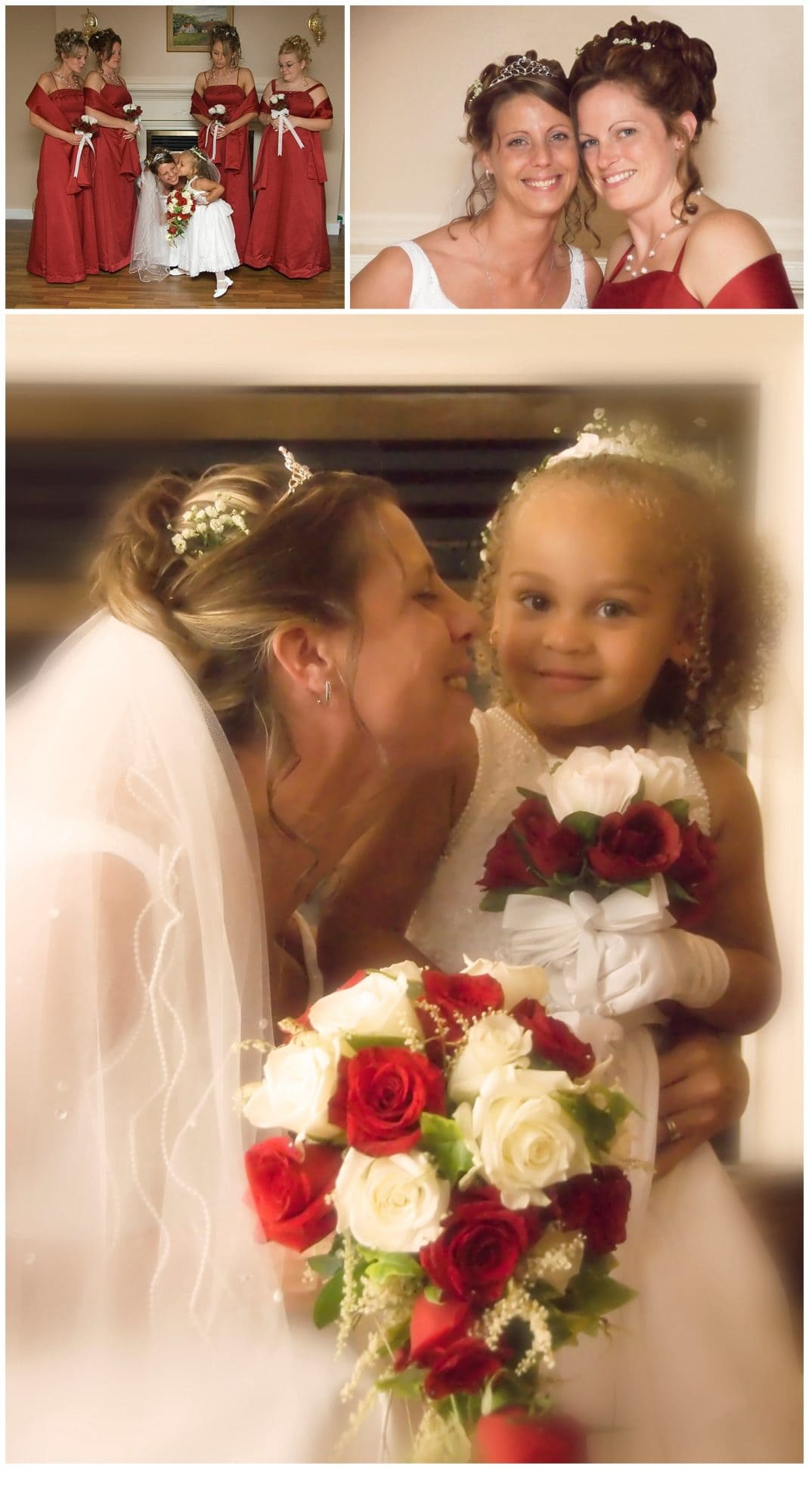 The flower girl with the bride during bridal prep.
