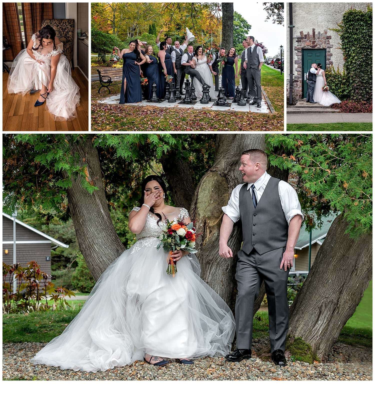 A wedding with the bride and groom at Digby Pines Resort.