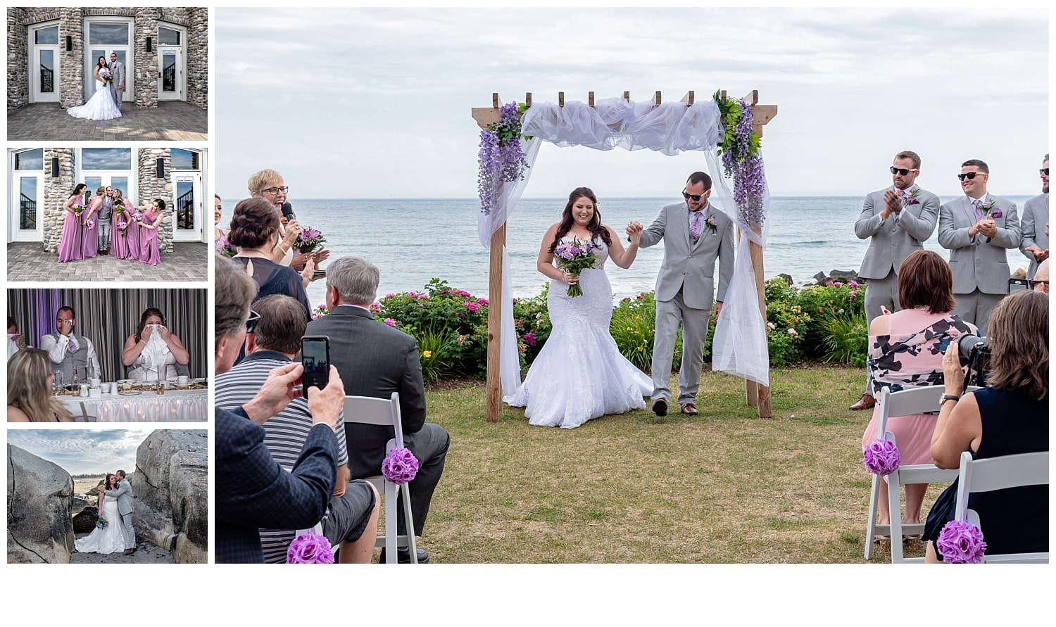 A Nova Scotia wedding photographer with the bride and groom at White Point Beach Resort.