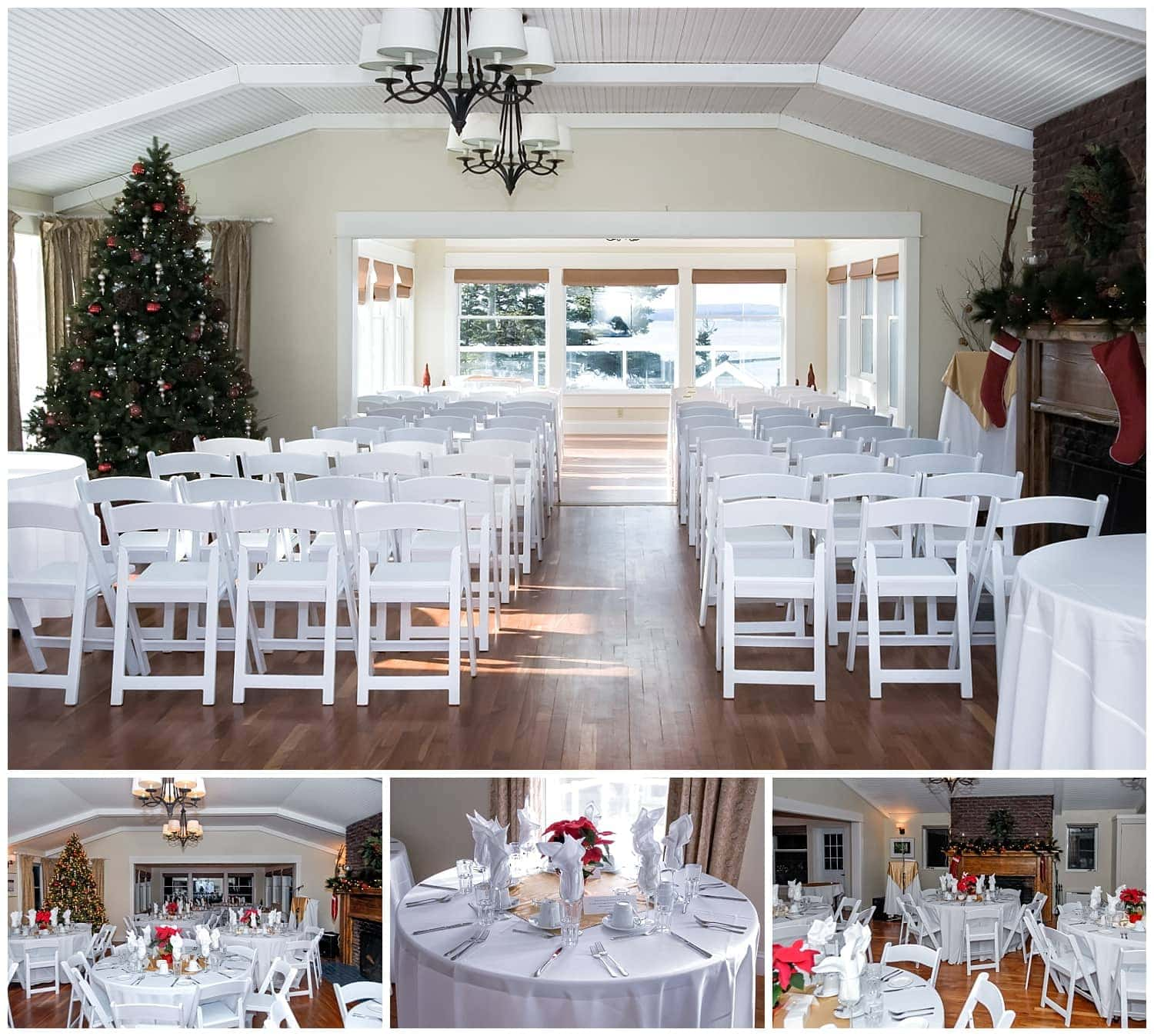 Oceanstone weddings, ceremony and reception set ups for a winter wedding.