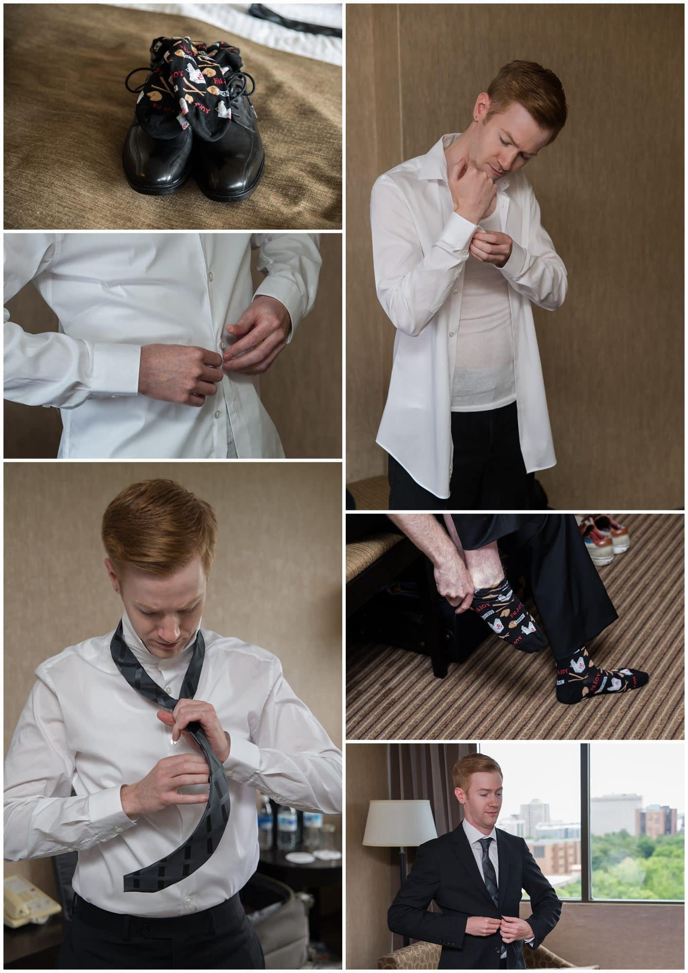 The groom getting ready for his wedding day at the Atlantica Hotel in Halifax. NS.