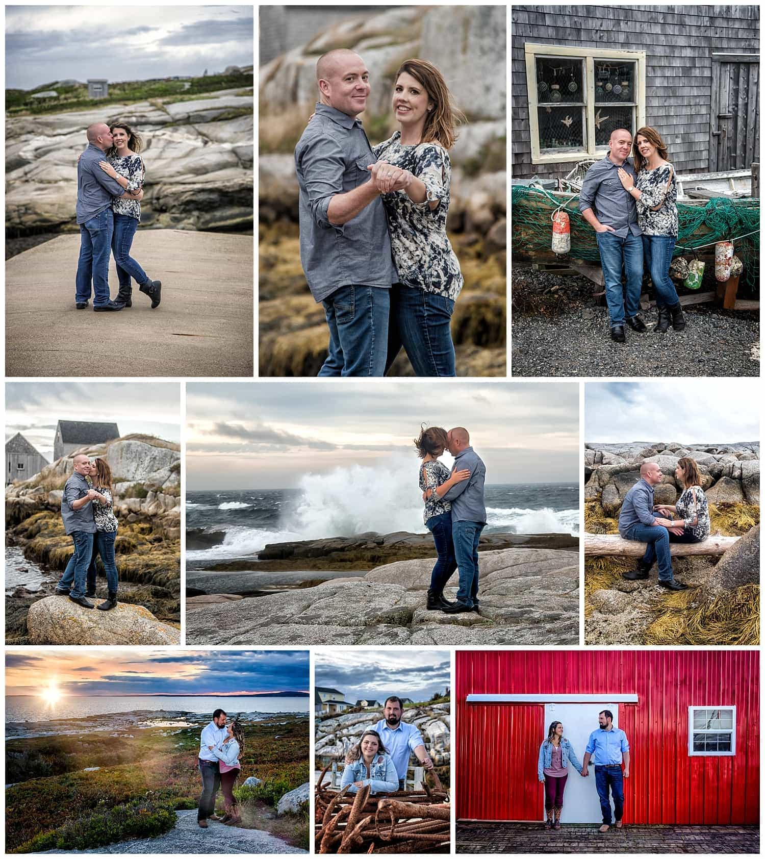 Engagement photos of very cute couples at Peggys Cove in Nova Scotia by a Halifax wedding photographer.