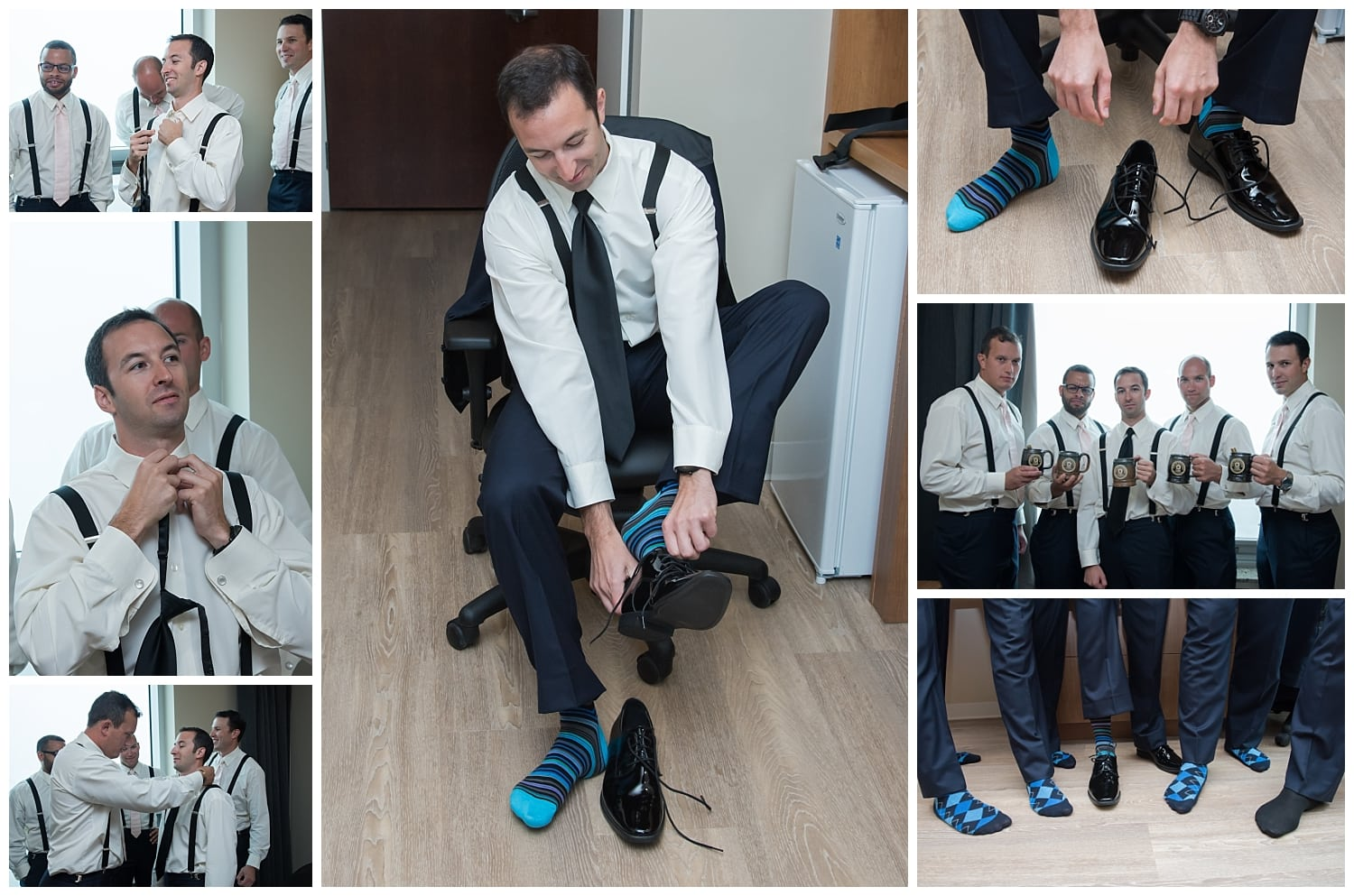 The groom with groomsmen getting ready at the Halifax Delta Hotel.