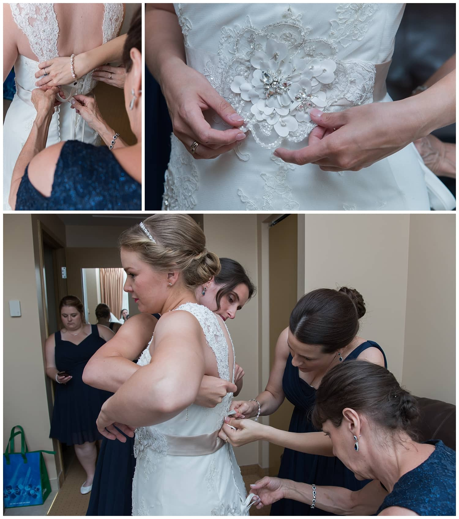 The bride with her bridesmaids get ready for her wedding at Juno Tower in Halifax, NS.
