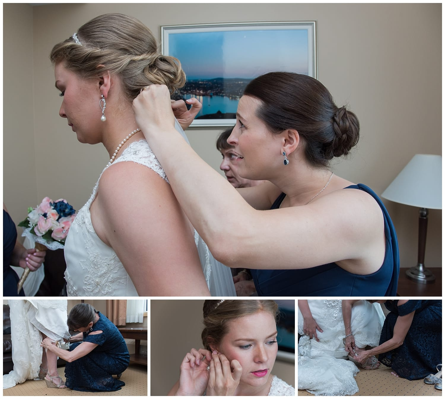 The bride getting ready for her wedding at Juno Tower in Halifax.