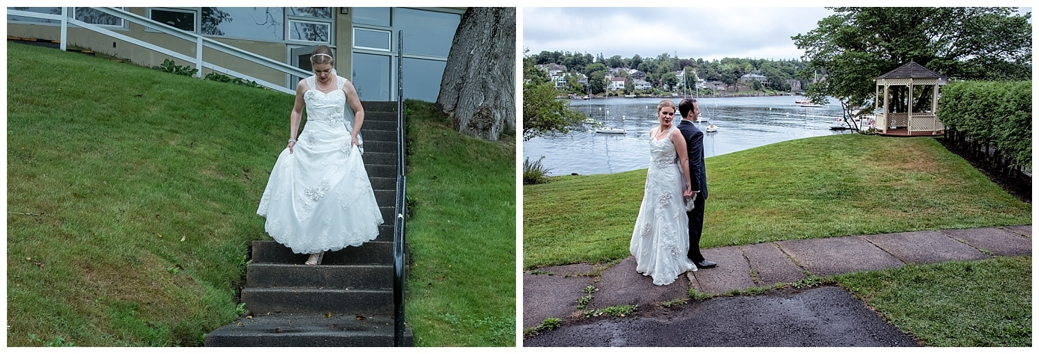 A first look by the bride and groom before their wedding ceremony at Saraguay House in Halifax.