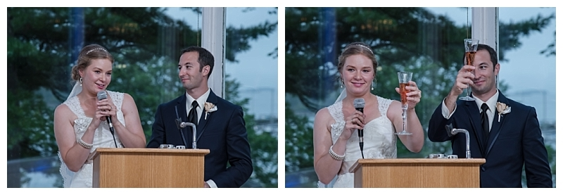 The bride and groom thank their guests for coming to their wedding at Saraguay House.
