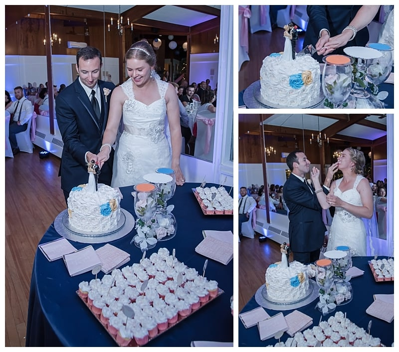 The bride and groom cut the wedding cake then feed each other during a Saraguay House wedding in Halifax.