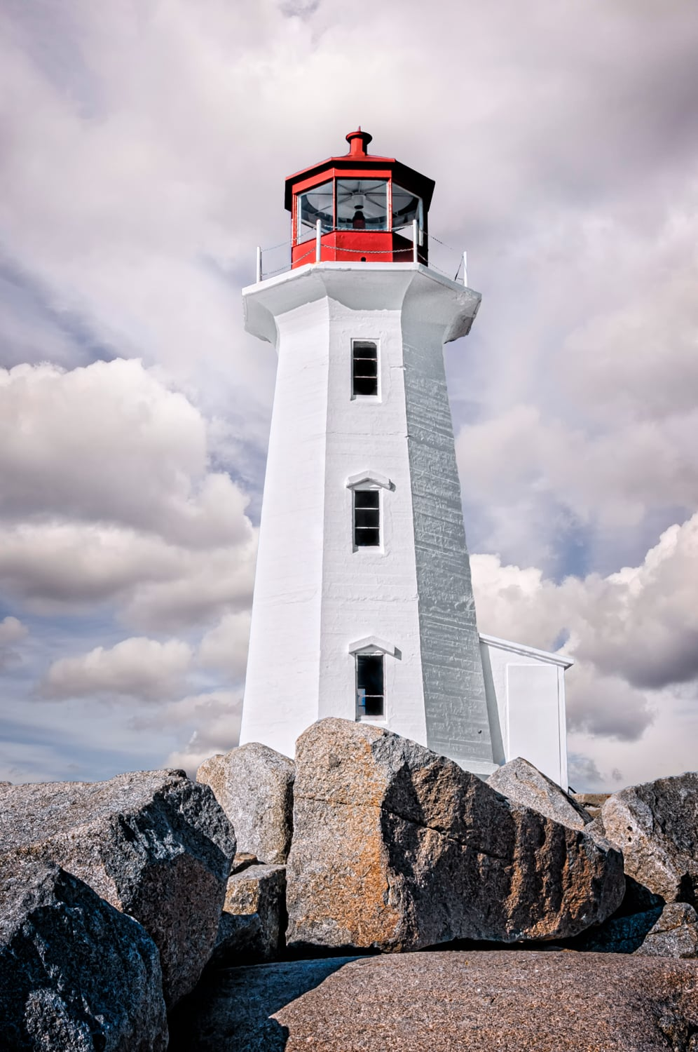 Peggy's Cove lighthouse on the rocks in Nova Scotia.
