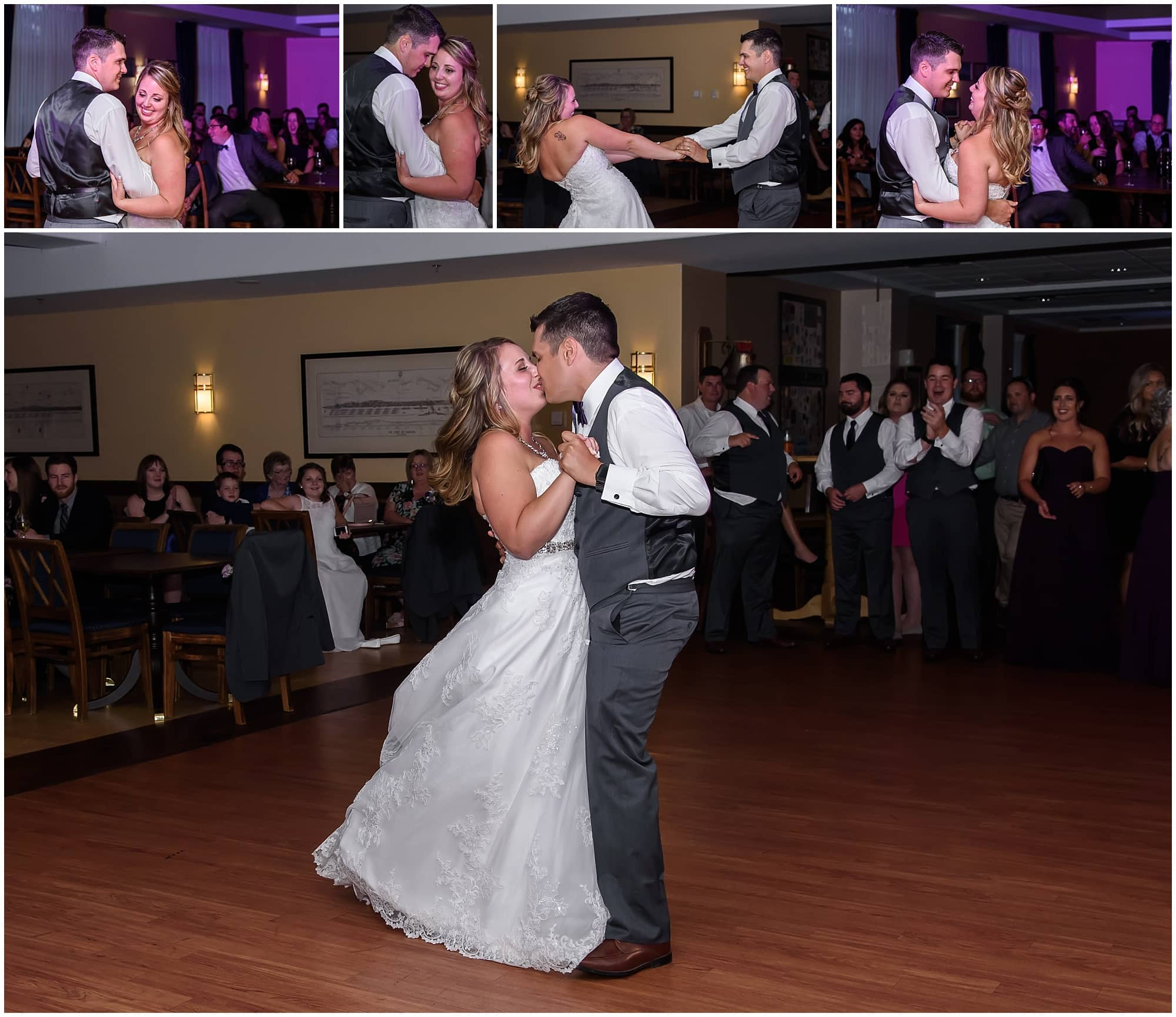 The bride and groom have their first dance during their wedding reception at Juno Tower in Halifax, NS.