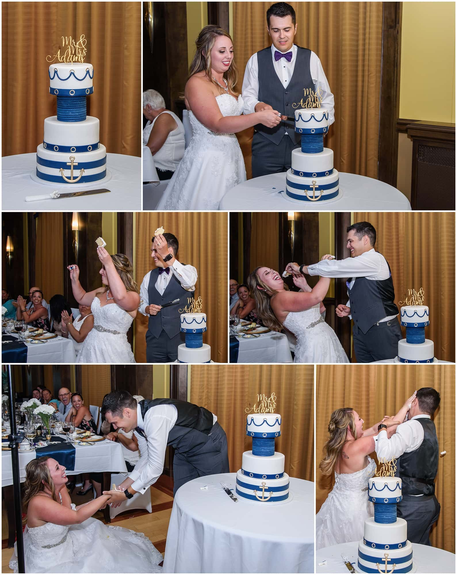 The bride and groom cut their wedding cake and then feed each other during their wedding reception at Juno Tower in Halifax.