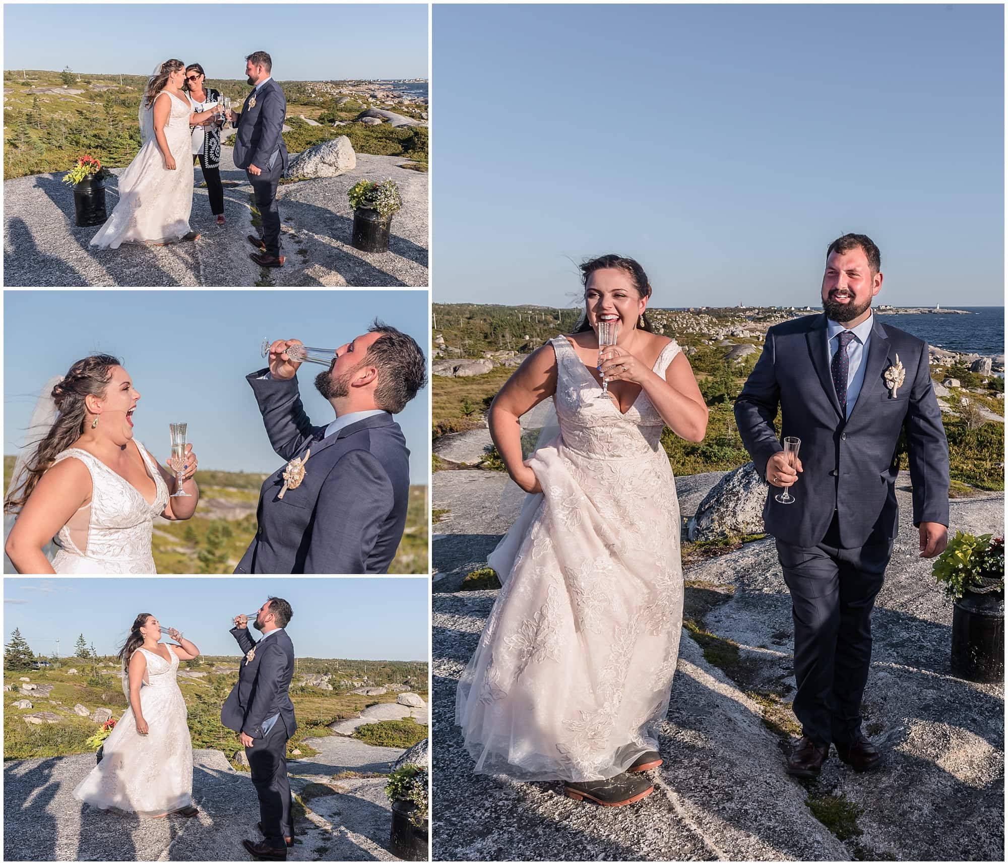 The bride and groom drink wine as a show of unity during their wedding ceremony at Peggy's Cove in Nova Scotia.