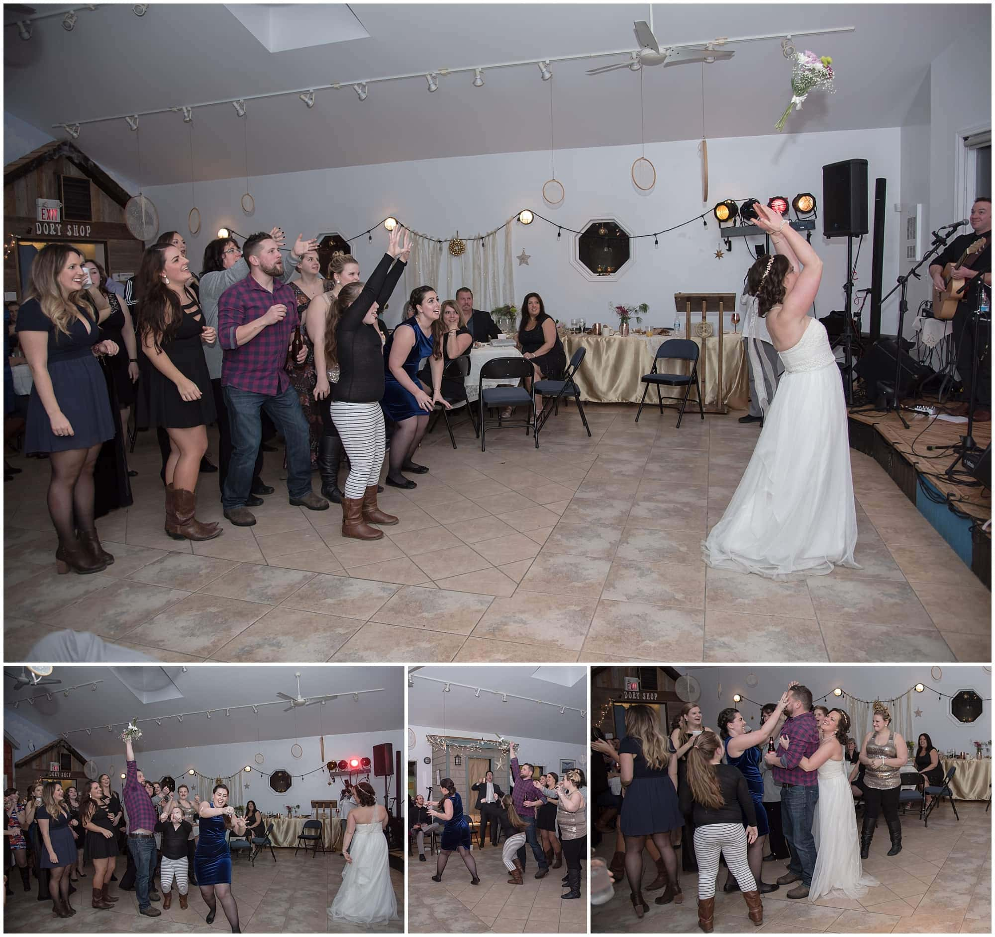 The bride tosses the bridal bouquet into the guests and a man catches the bouquet during a wedding reception at Fishermans Cove in Dartmouth NS.